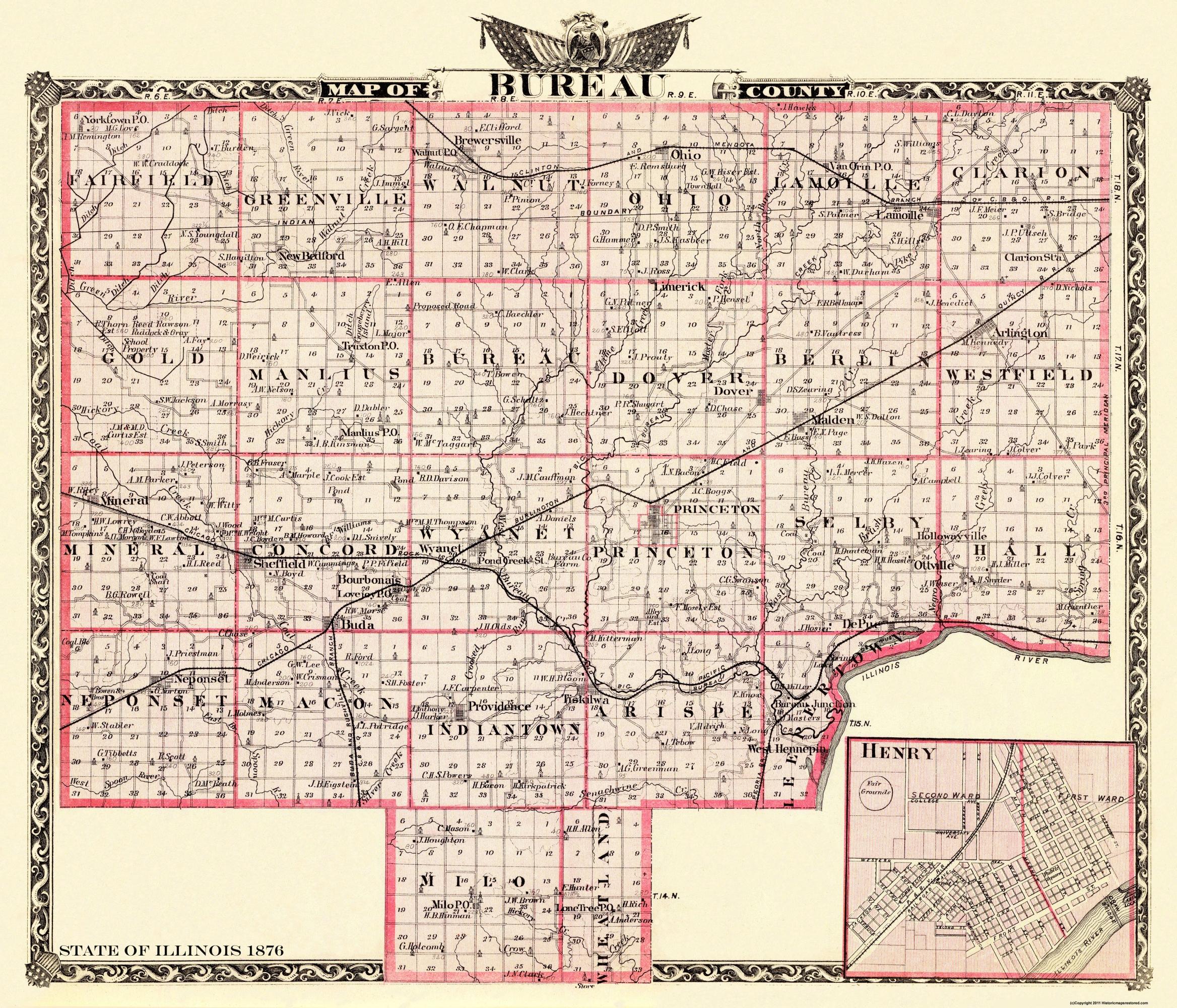 Illinois bureau county dover - Hover To Zoom