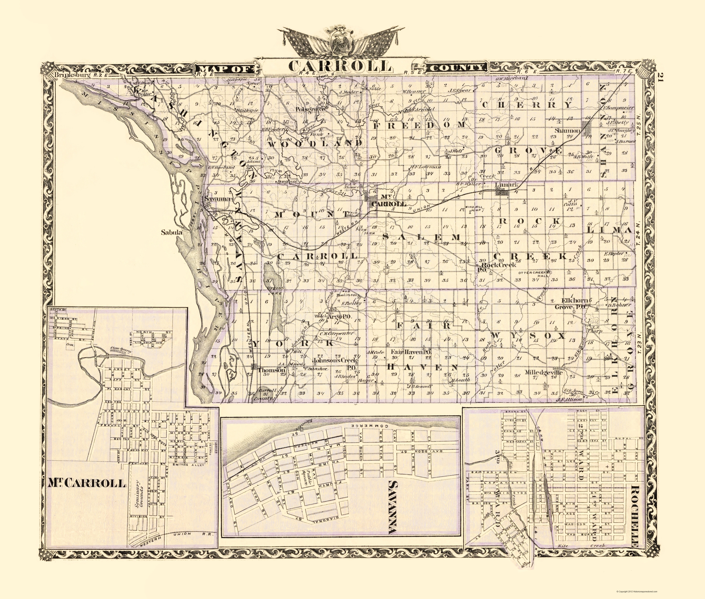 Old County Map - Carroll Illinois - Warner 1870 - 23 x 27.07 on il construction map, il concealed carry map, il route 66 map, il county map, il senate map, il u.s. representatives map, il water map, il weather map, il wi map, il michigan map, il map with cities, il general assembly map,