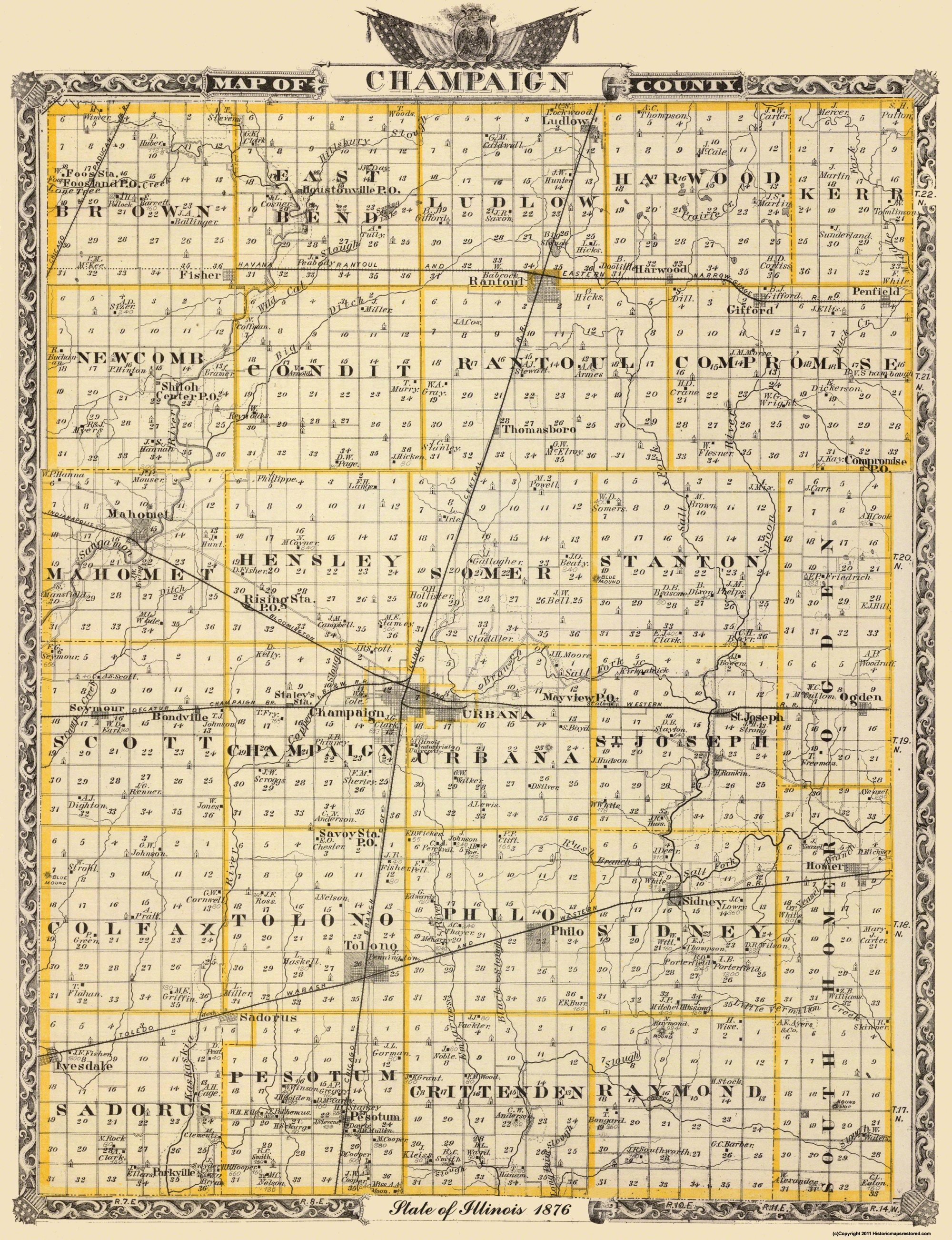 Old County Map Champaign Illinois Landowner 1876