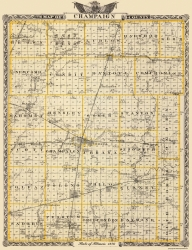 Adams Pike Illinois Campbell 1850-23 x 27.53 Old County Map Brown