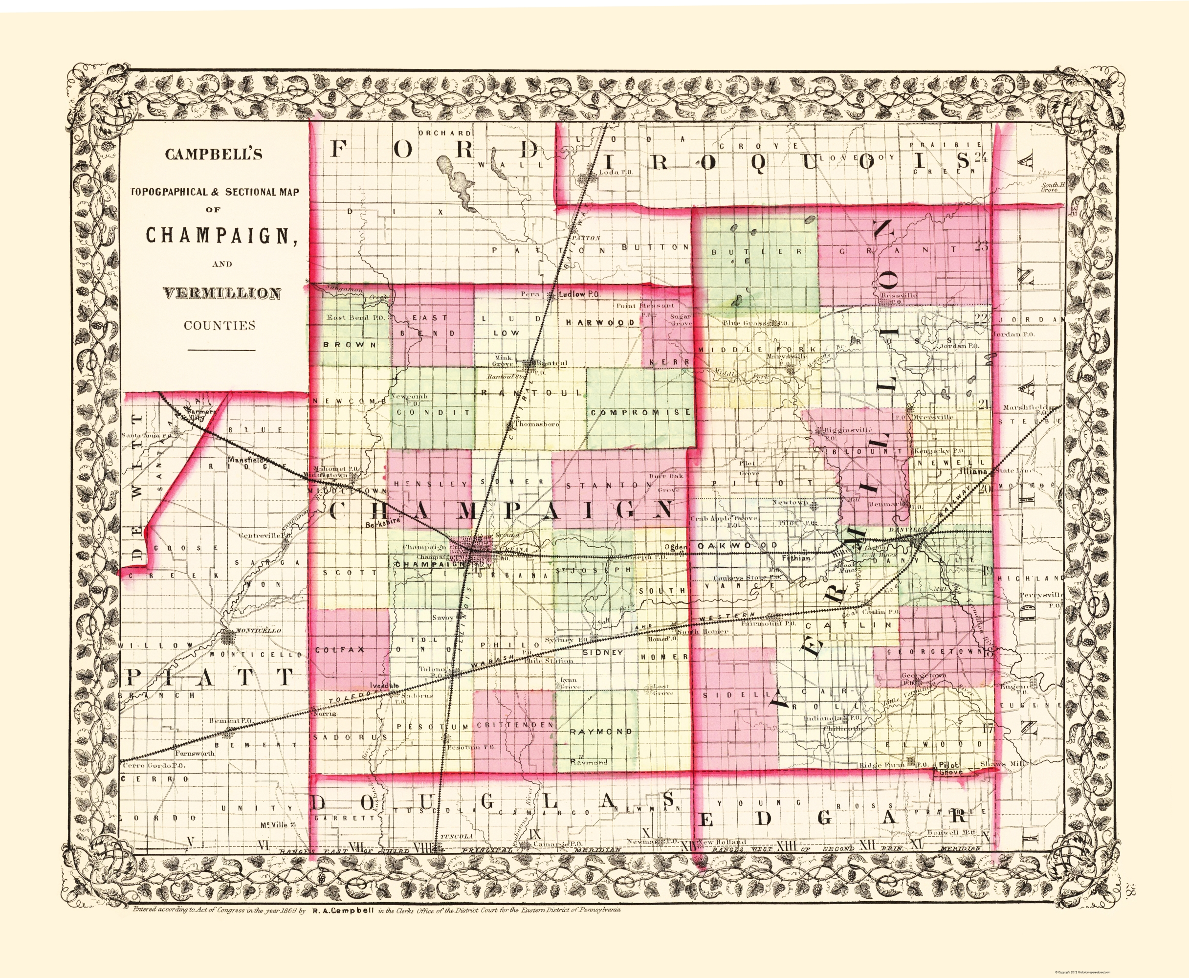 Old County Map - Champaign, Vermillion Illinois 1850 on