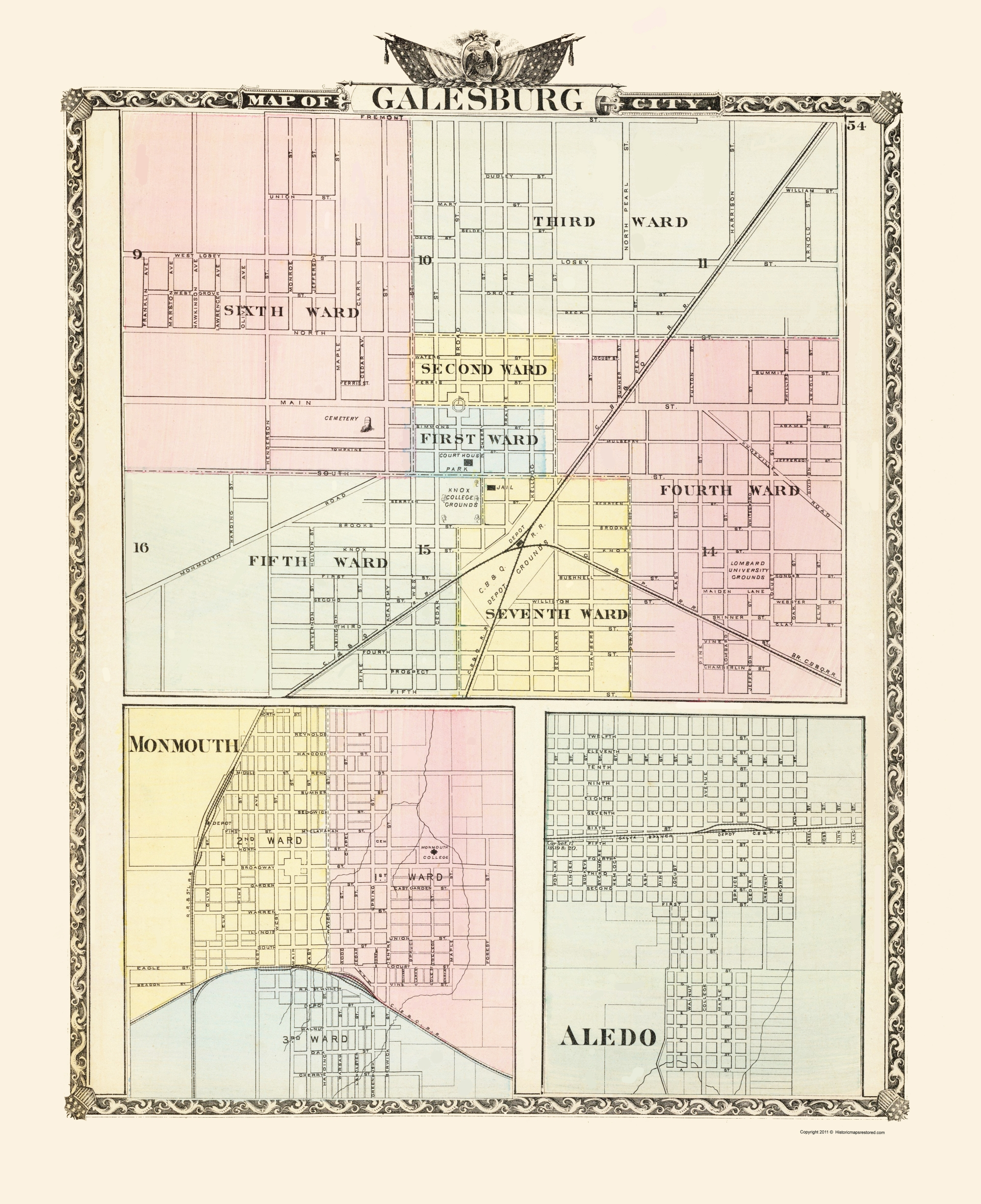 Old City Map Galesburg Monmouth Aledo Illinois 1876