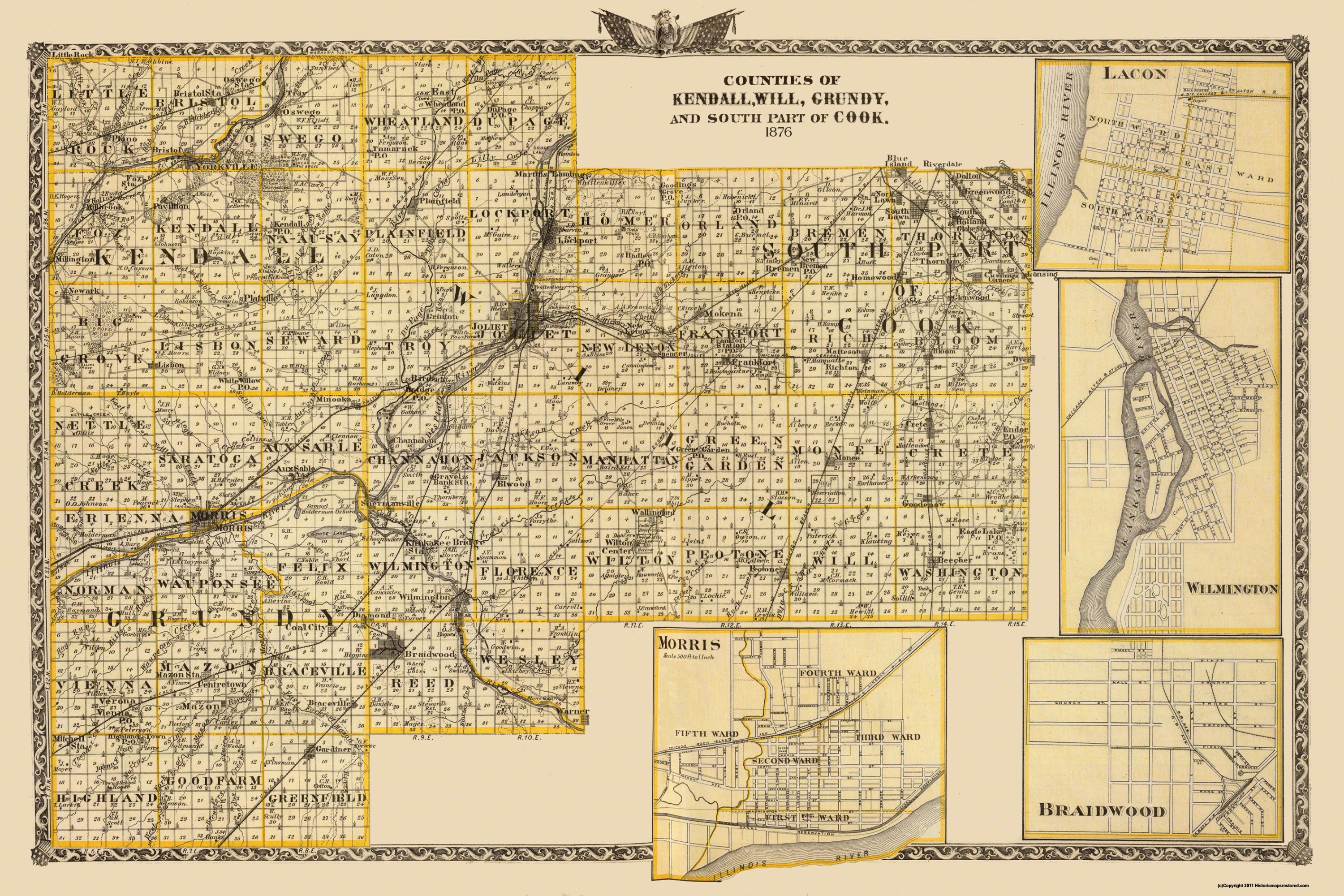 Old Map Kendall Will Grundy Cook Illinois 1876