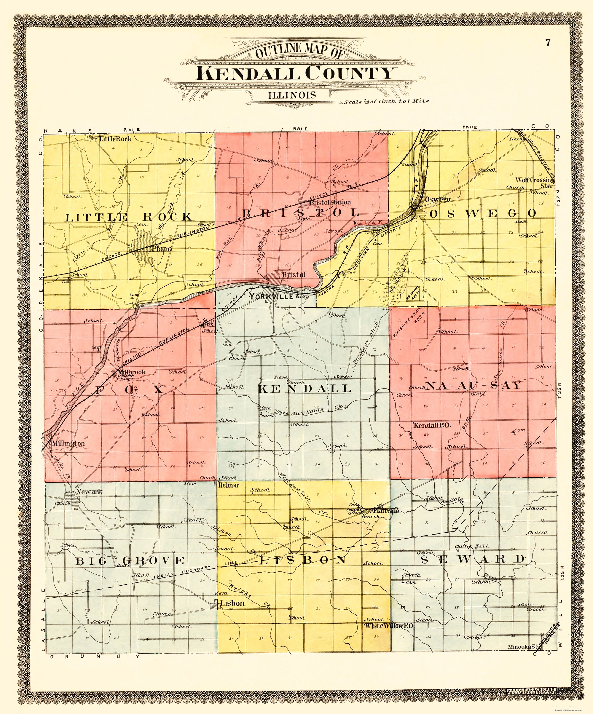 Illinois kendall county oswego - Indian Boundary Lines Are Also Shown Railways Include The Chicago Burlington Quincy Rr And The Elgin Aurora Lisbon Illinois United States