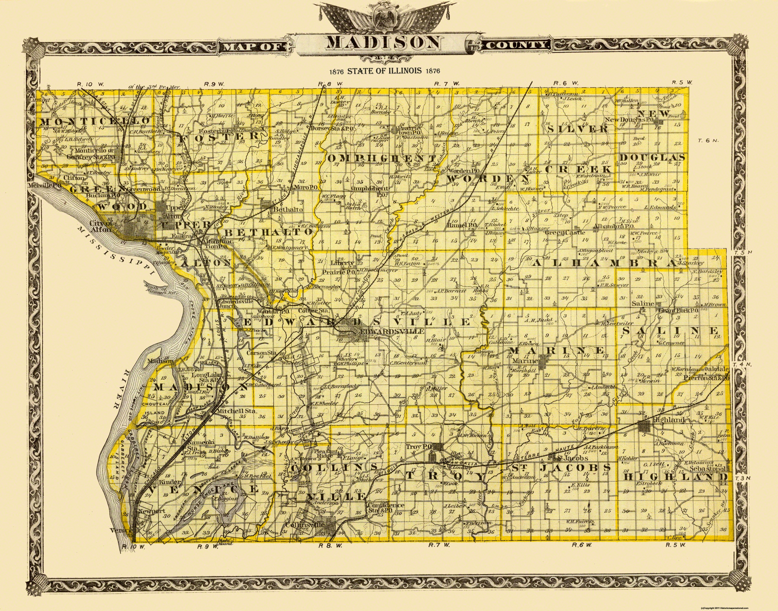 Old County Map Madison Illinois Landowner 1876