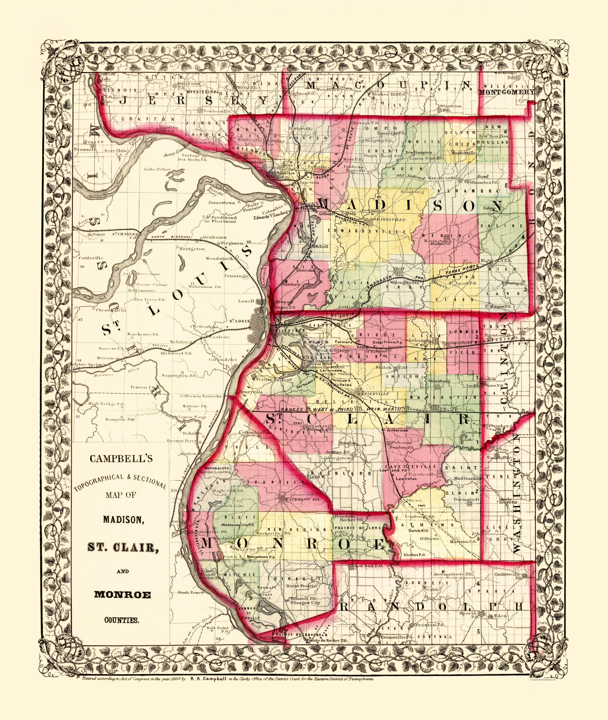 Old County Map Madison St Clair Monroe Illinois 1850