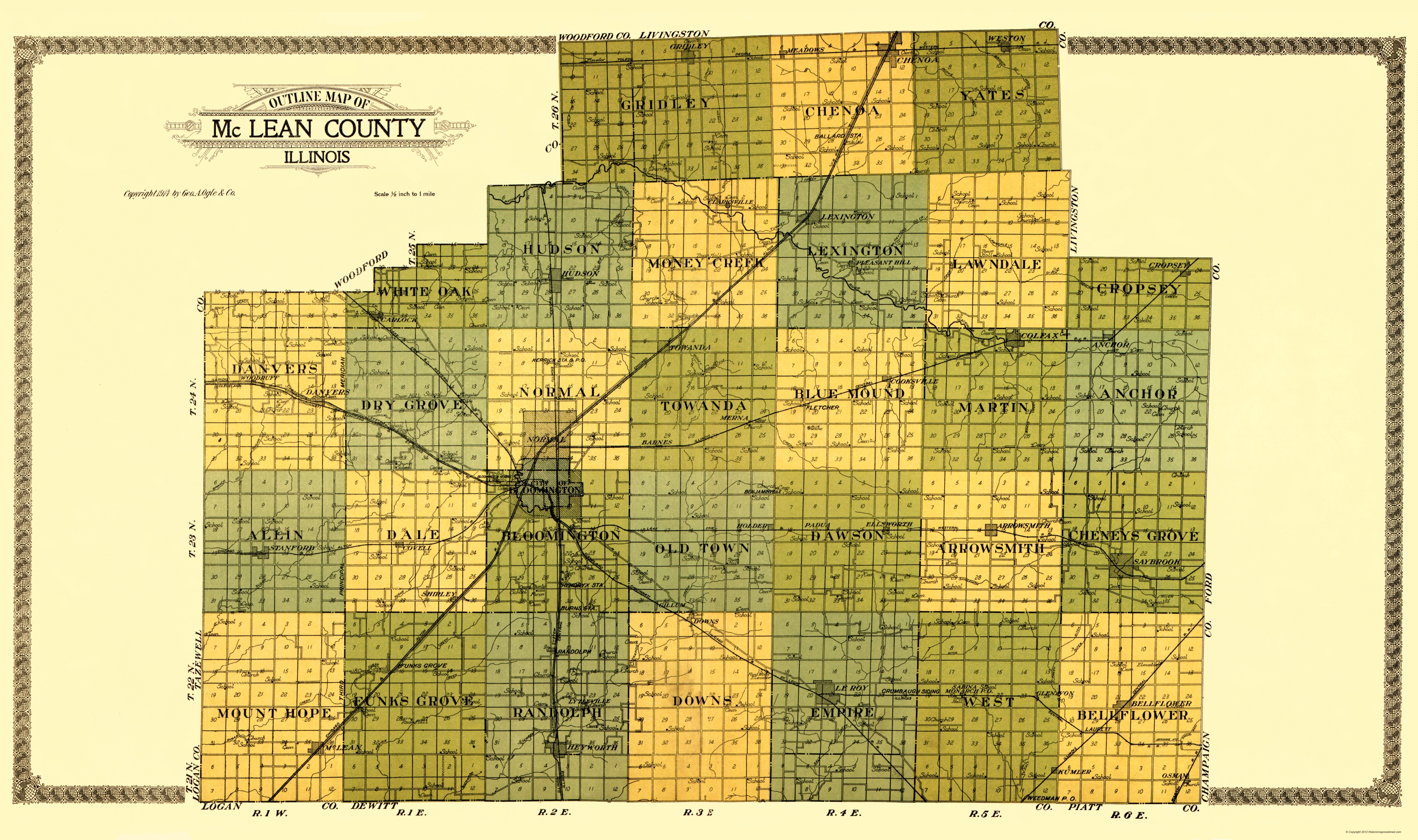 Old County Map - Mclean Illinois - Ogle 1914 - 23 x 38.83 on il city map, il voting districts map, il state map, pike co il map, il regional map, ga counties map, il world map, il zip map, il water map, il senate map, chillicothe il map, counties in il map, wi counties map, bloomington il map, wayne il map, il community college districts map, il township map, decatur il map, illinois map, il construction map,