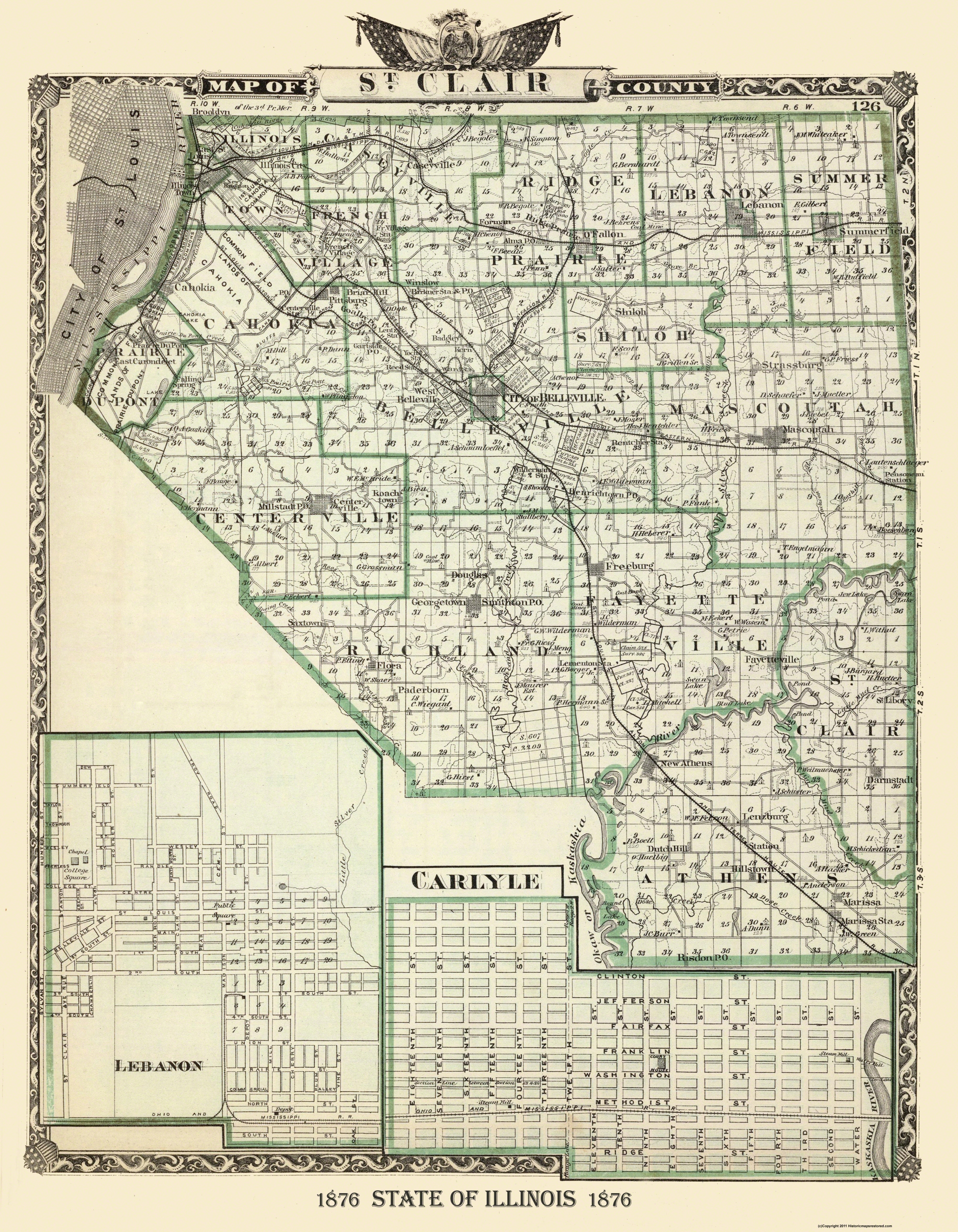 Old County Map St Clair Illinois Landowner 1876