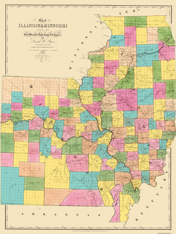 Old State Map Illinois Missouri Burr - Map of illinois and missouri