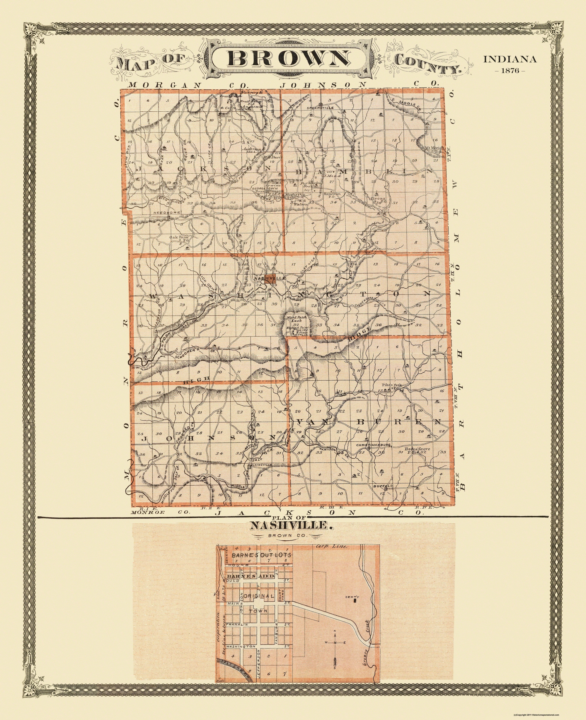 Old County Map Brown Indiana Landowner 1876
