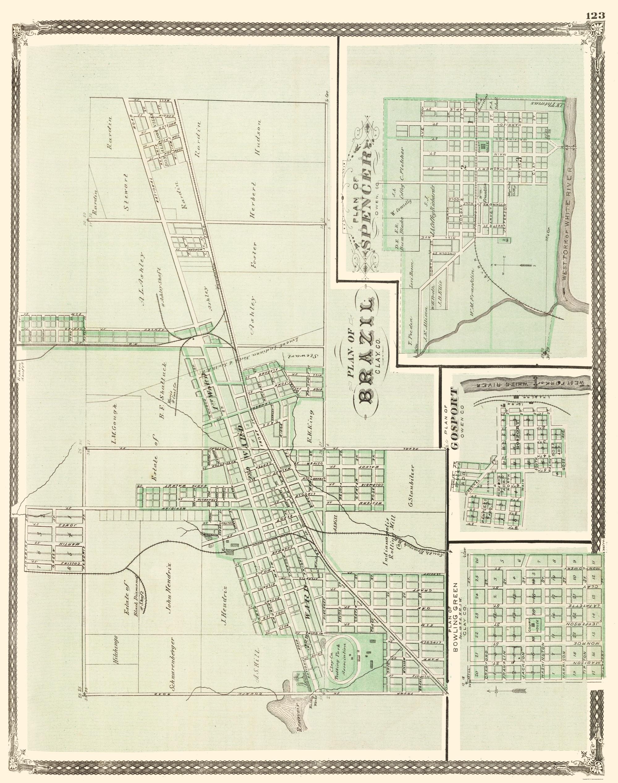 Old Map Brazil Spencer Bowling Green Indiana Landowner
