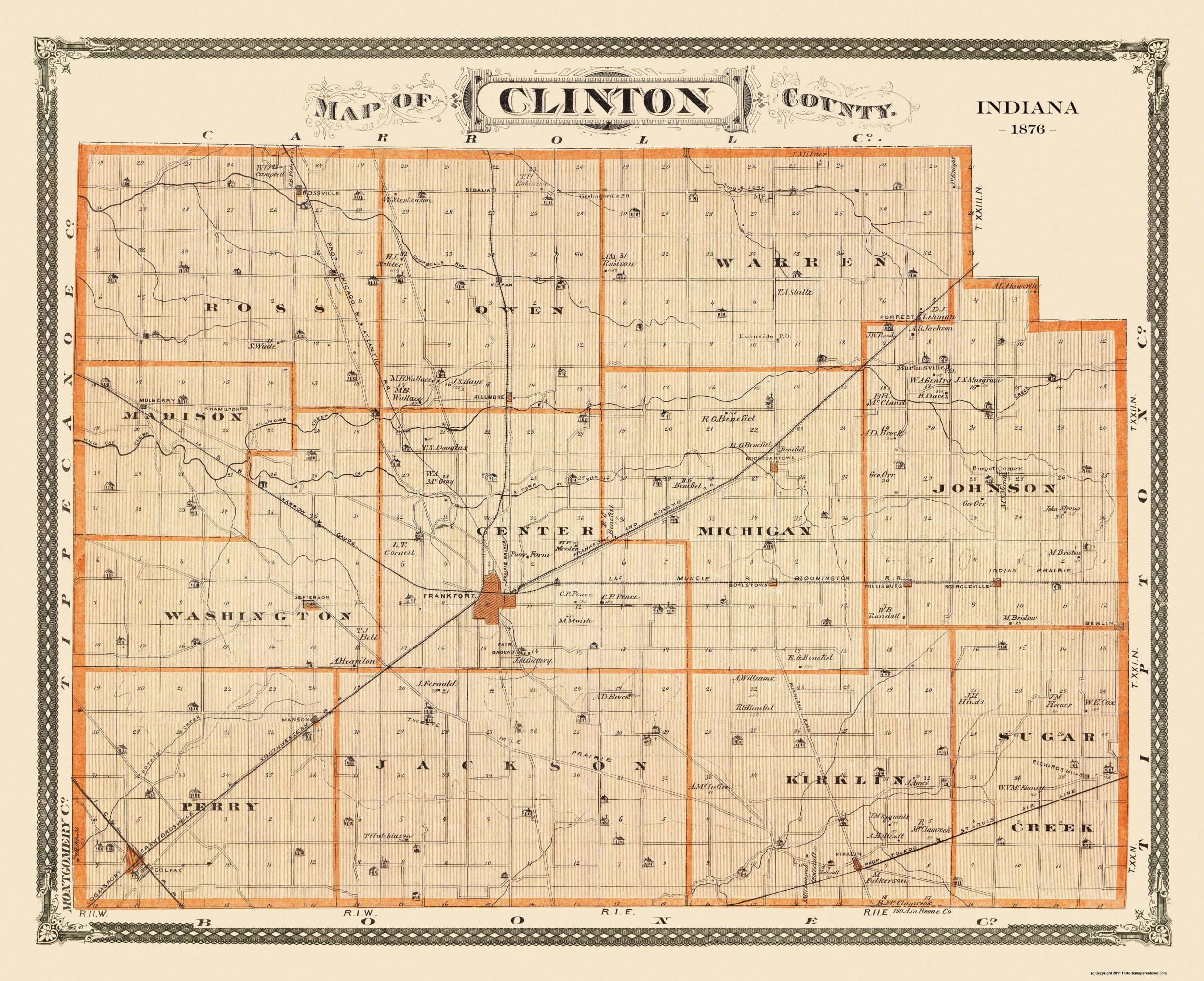 Old County Map   Clinton Indiana Landowner   1876