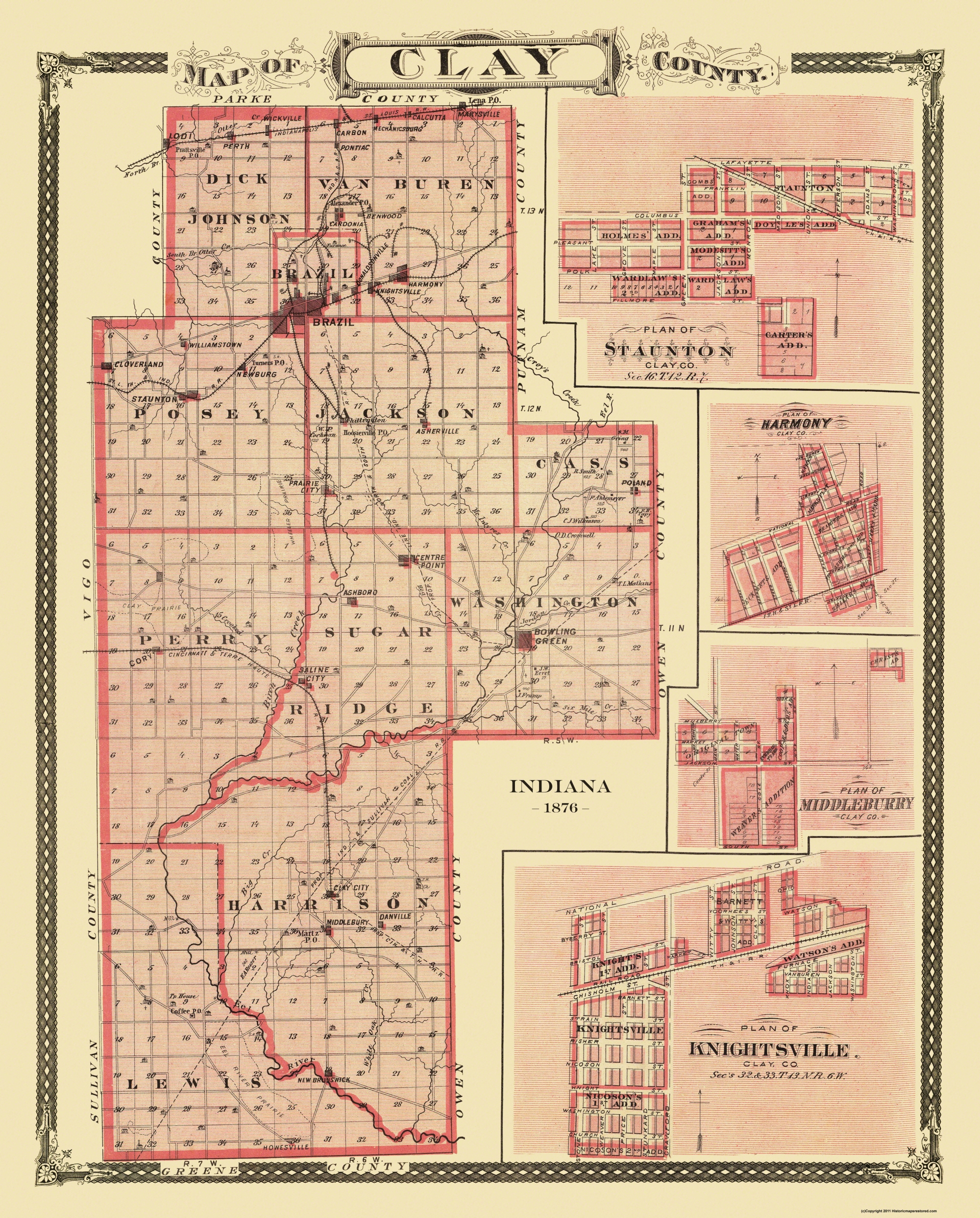 Indiana clay county harmony - Sites Specific To This Map Are The Town Plans Of Knightsville Middlebury Harmony And Staunton Indianapolis Sulliva Coa Lodi Indiana United States