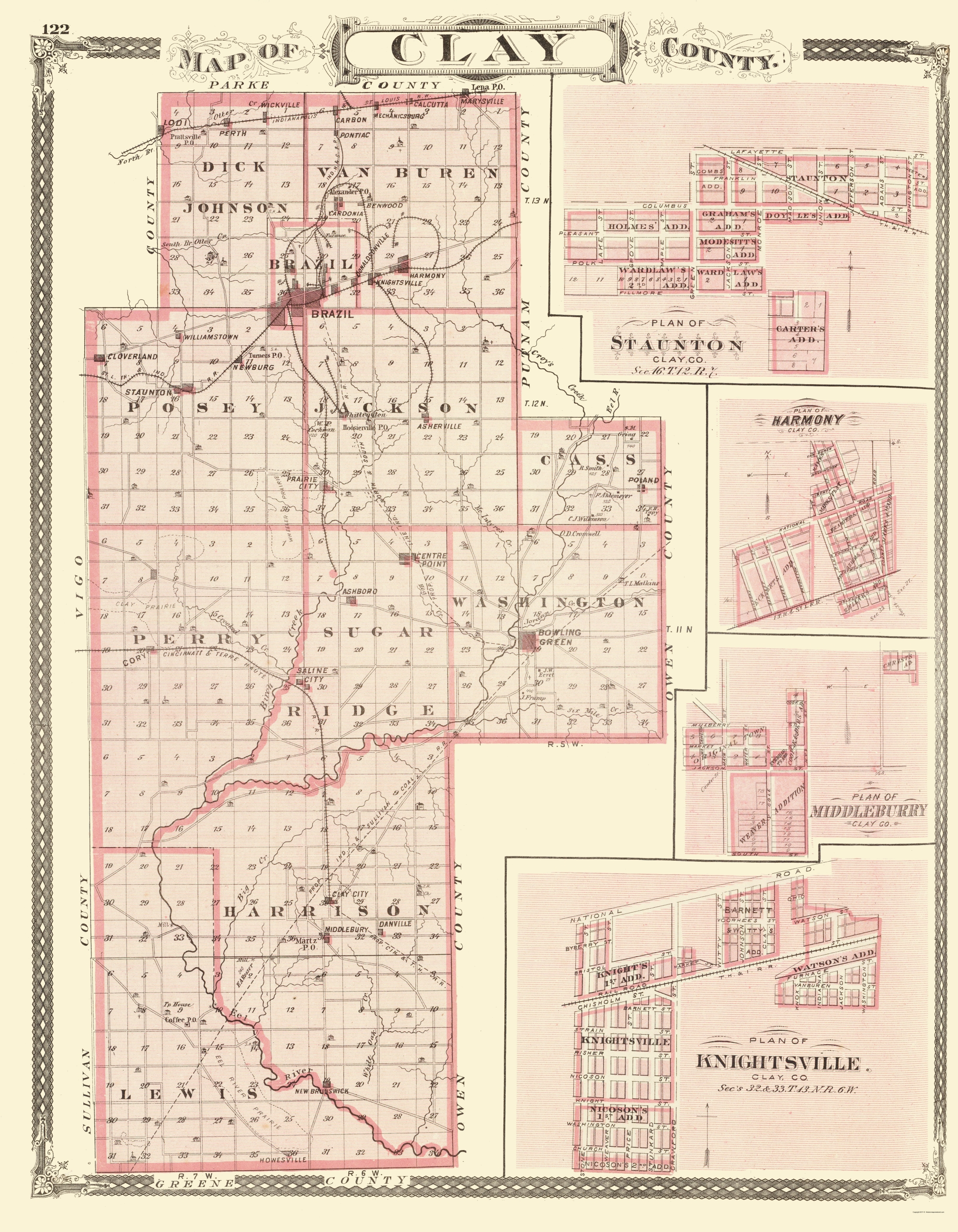 Indiana clay county harmony - Also Shown Are Insets Of The Towns Of Stunton Harmony Middleburry And Knightsville On The Right Some Landmarks Of Interest Stunton Indiana United