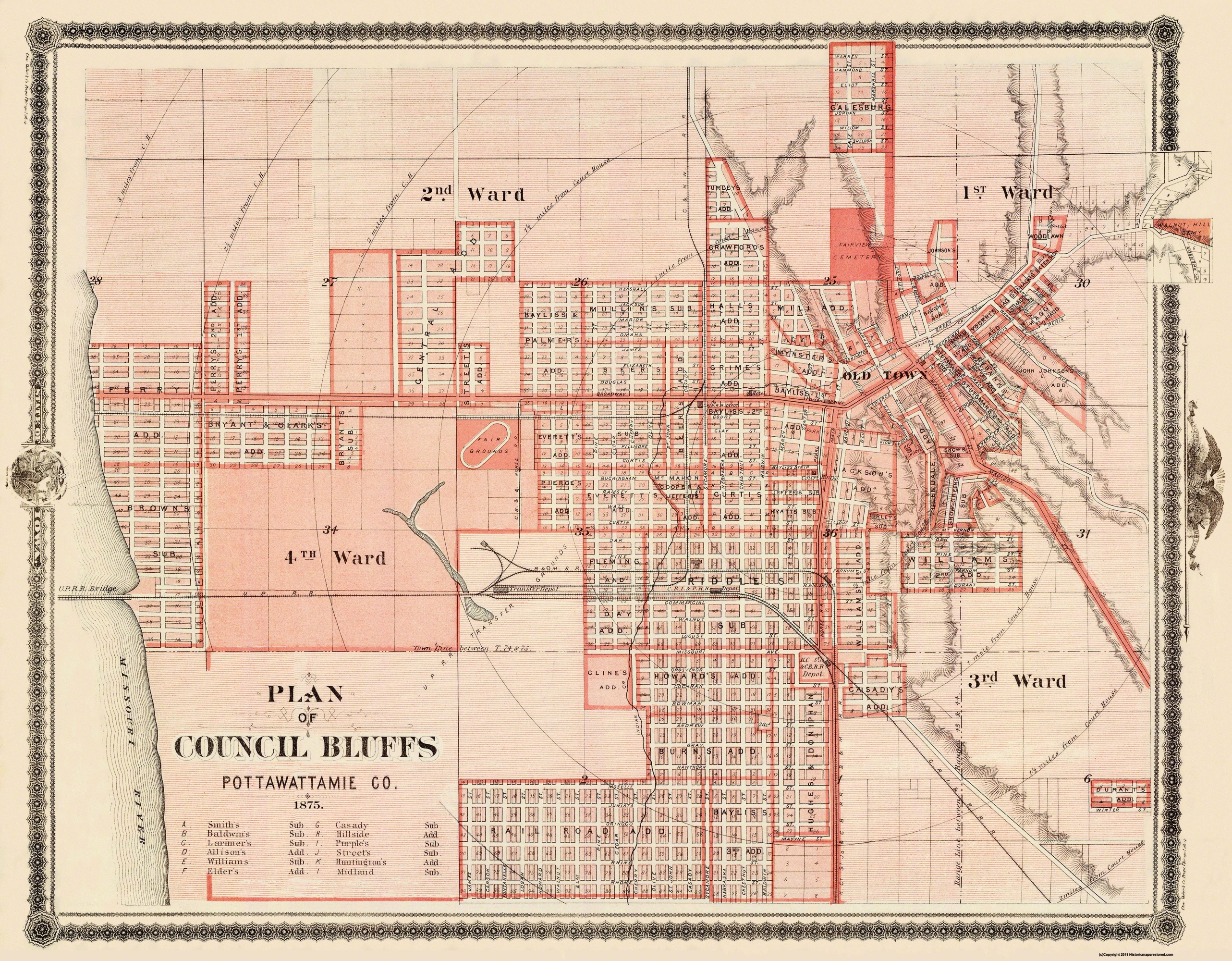 Old Iowa Map.Old City Map Council Bluffs Iowa 1875