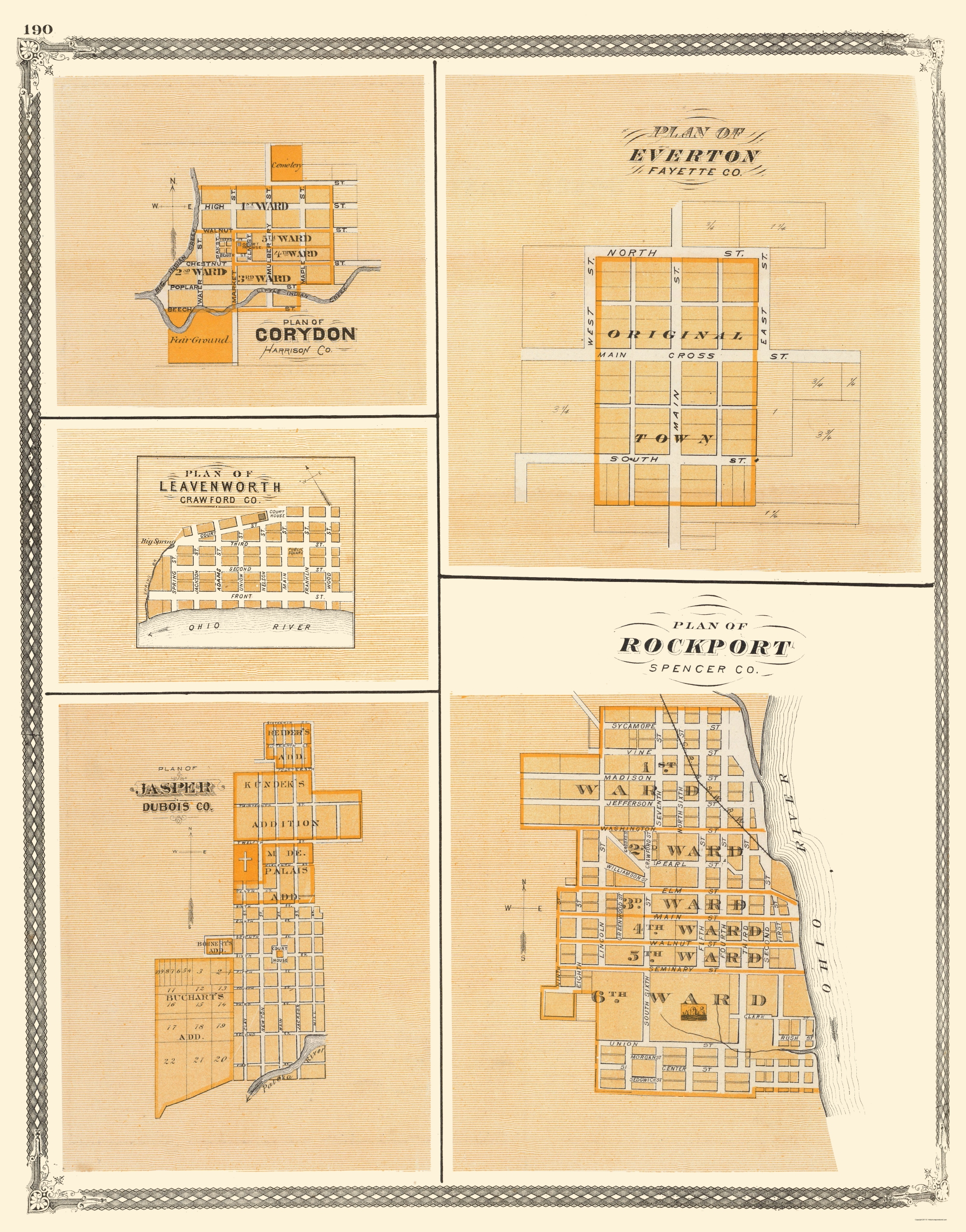Old Map Corydon Everton Leavenworth Jasper Indiana