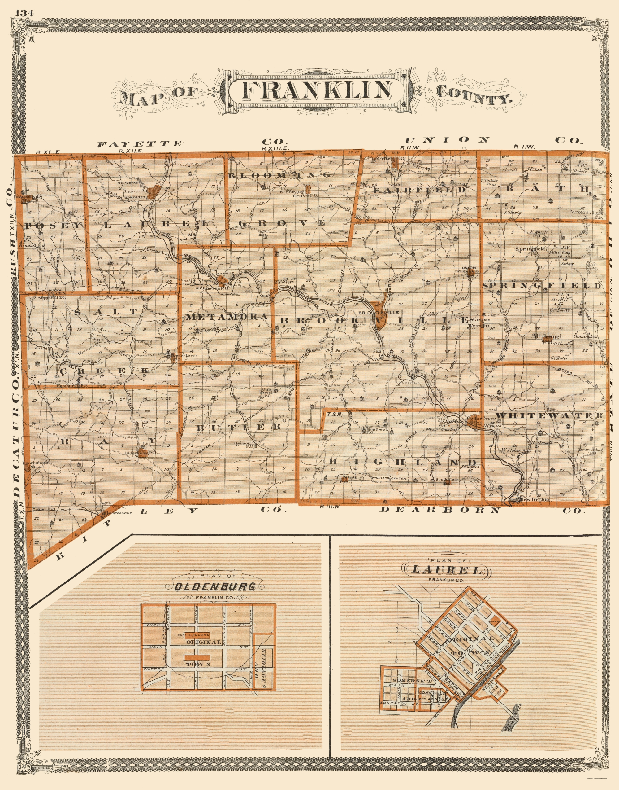 Old County Map Franklin Indiana Baskin 1876
