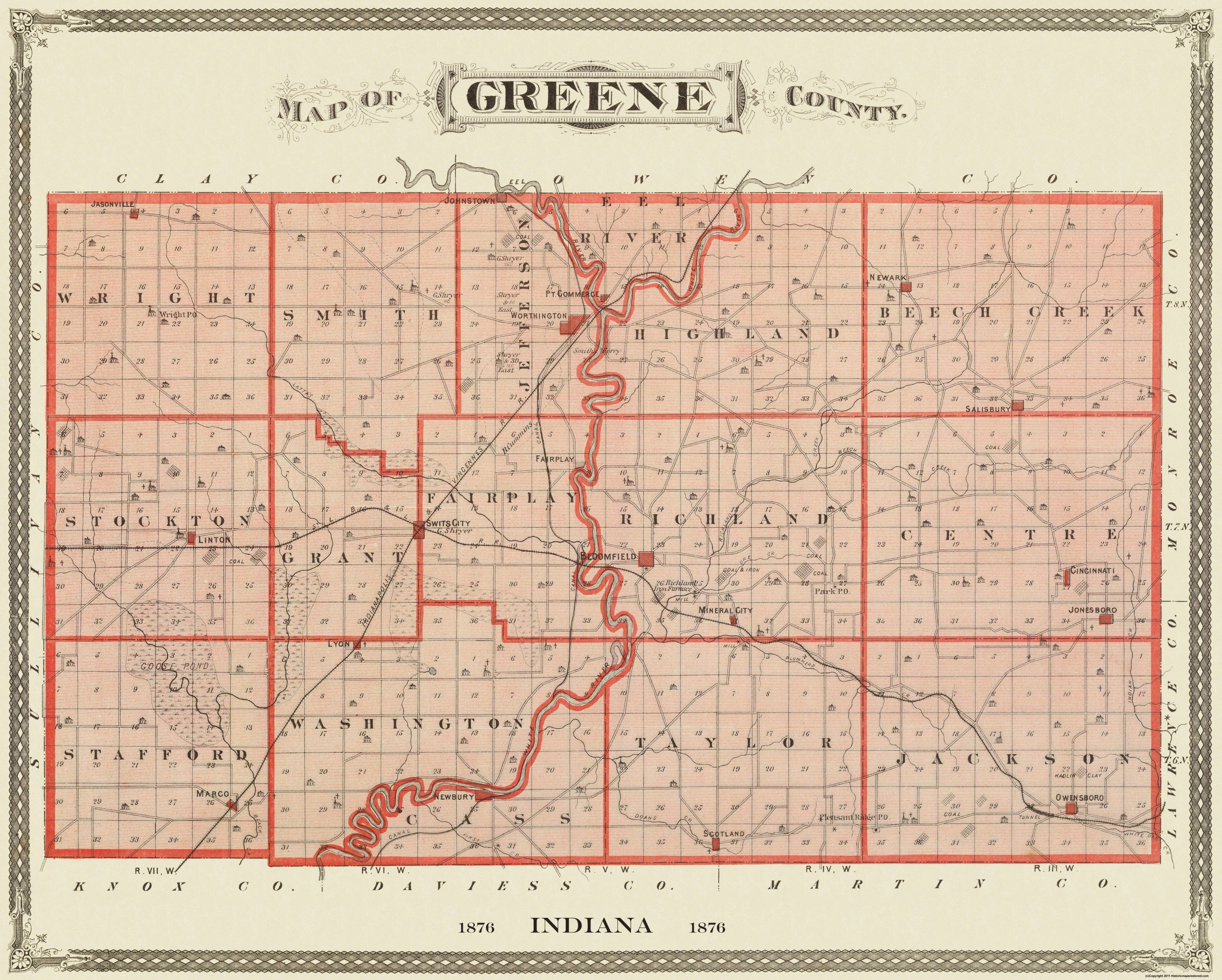 Indiana Map County.Old County Map Greene Indiana Landowner 1876