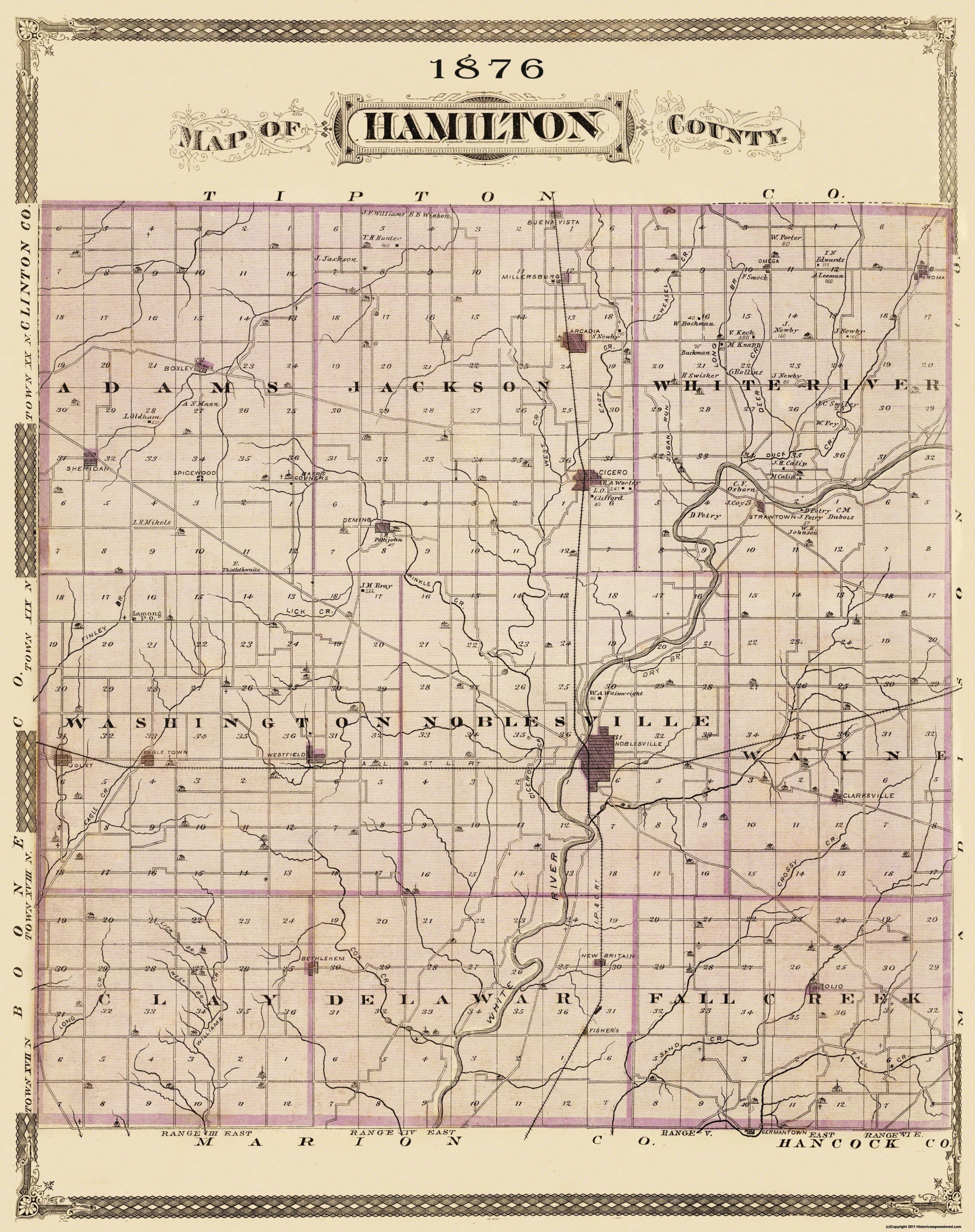 Old County Map   Hamilton Indiana Landowner   1876