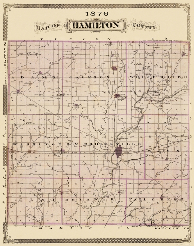 Old County Map Hamilton Indiana Landowner 1876