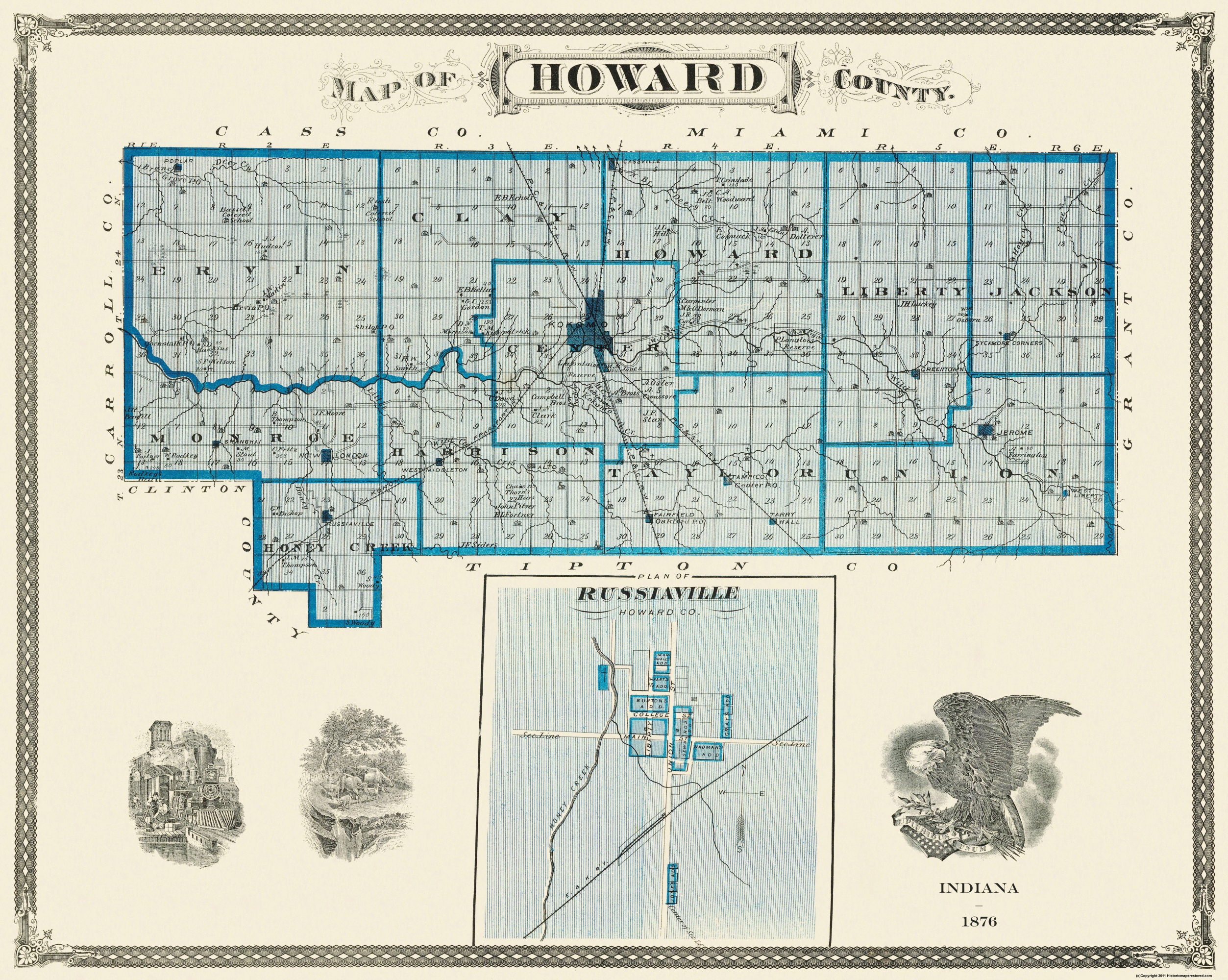 Howard County Indiana Map.Old County Map Howard Indiana Landowner 1876 28 81 X 23