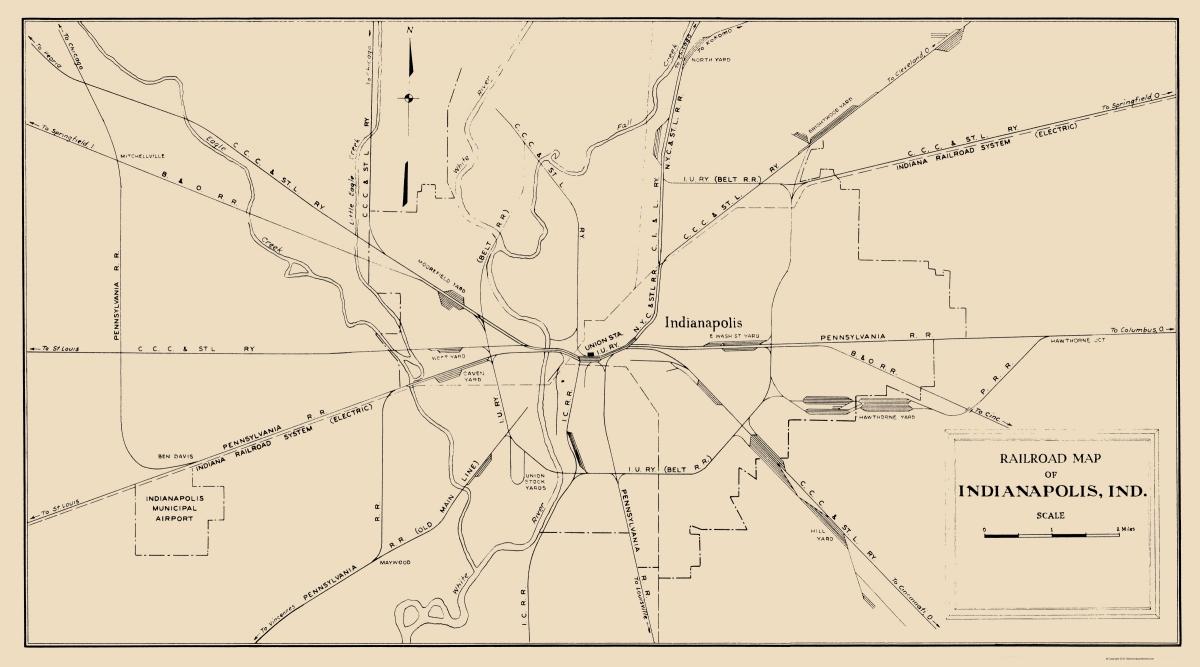 Old Railroad Map Indianapolis Indiana Railroad Map 1950