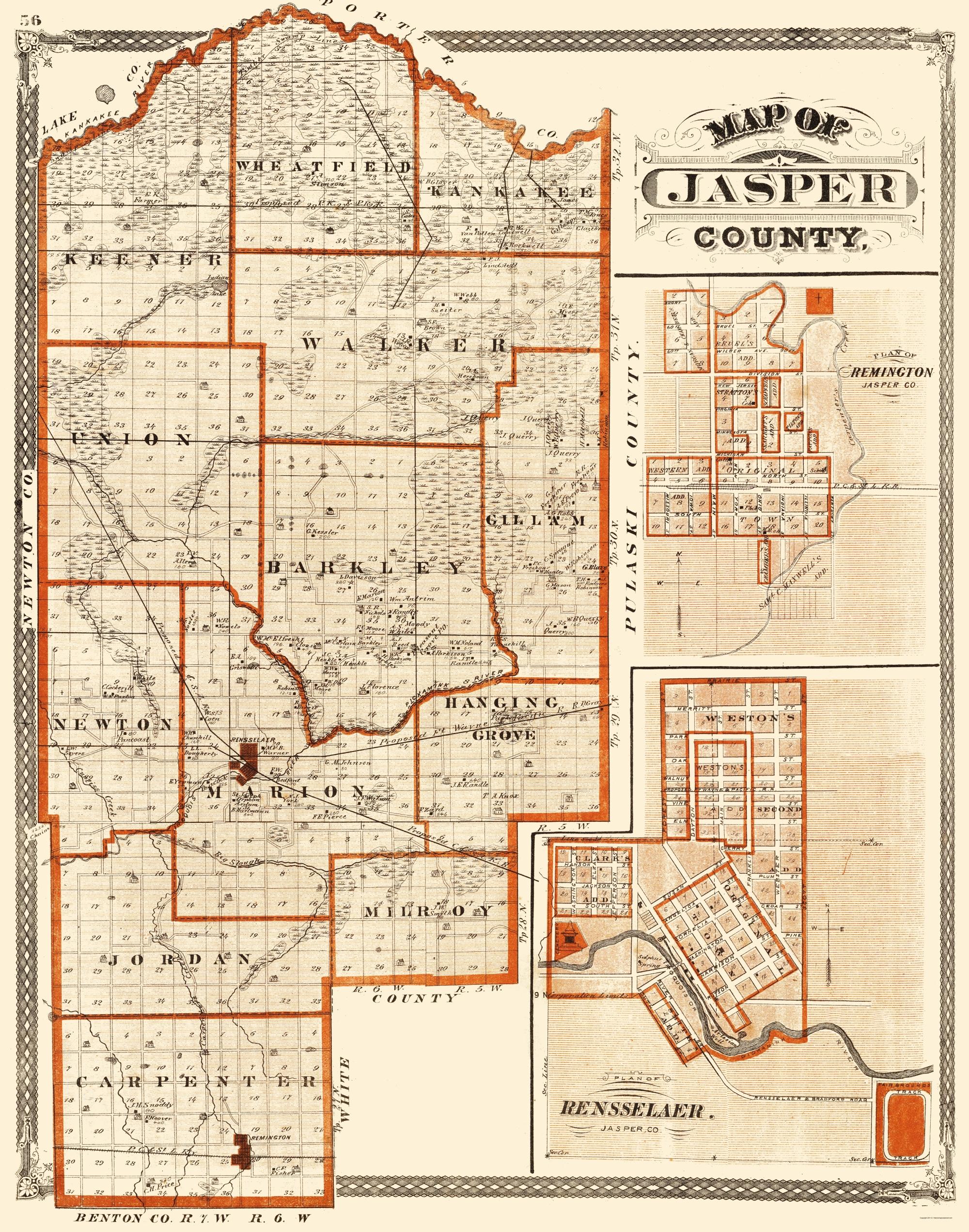 Old County Map Jasper Indiana Baskin 1876