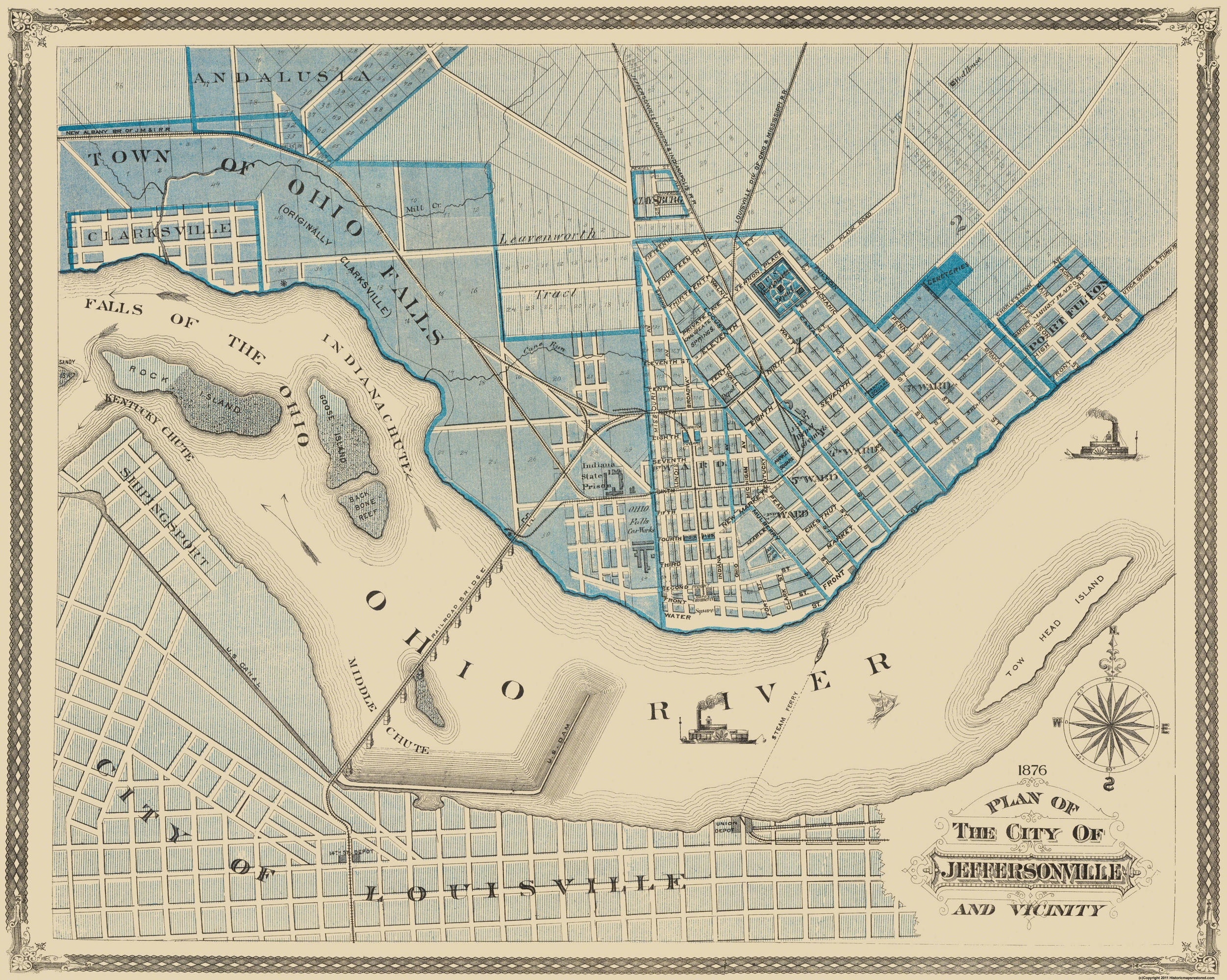 Old City Map - Jeffersonville Indiana - 1876