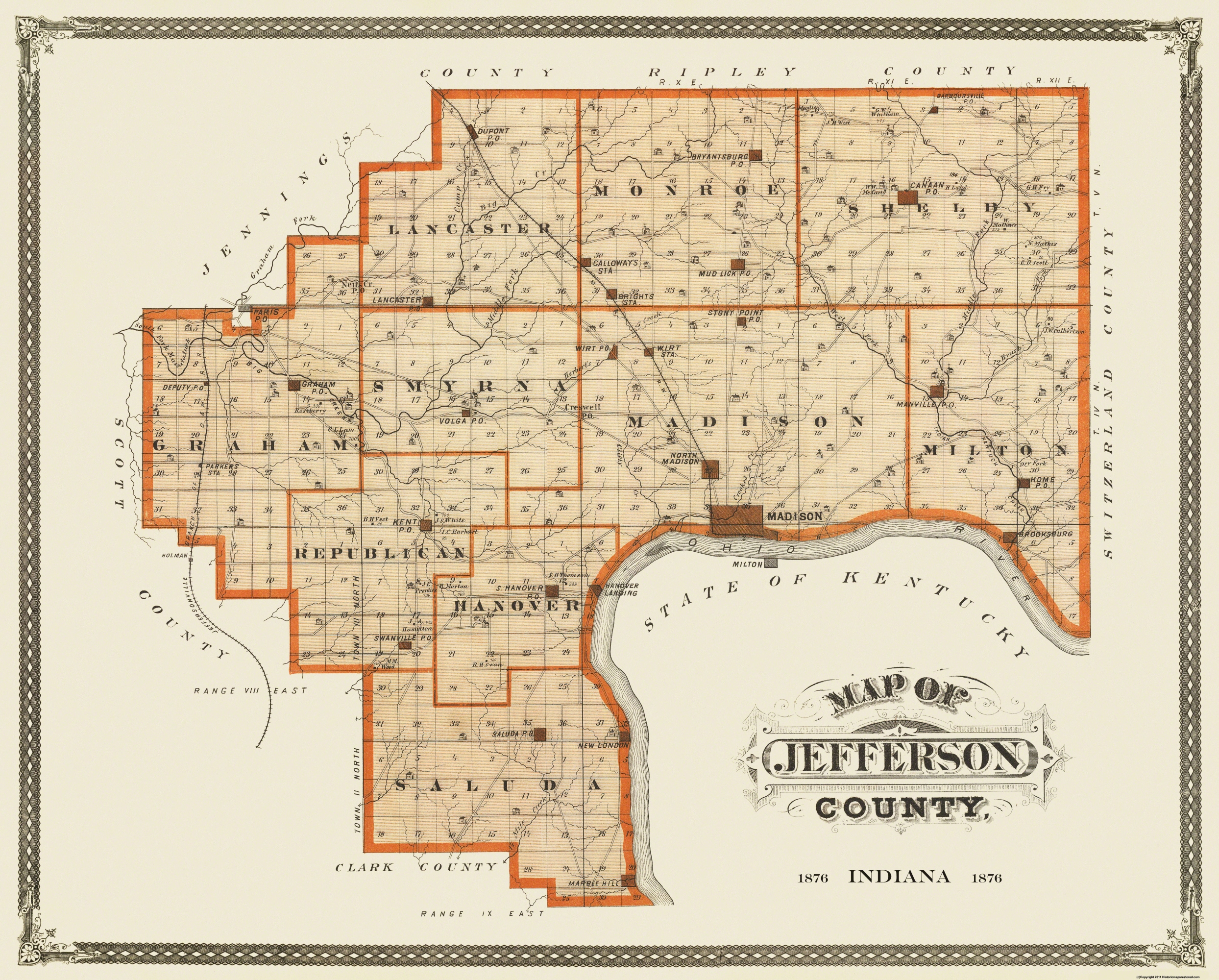 Jefferson County Indiana Map.Old County Map Jefferson Indiana Landowner 1876