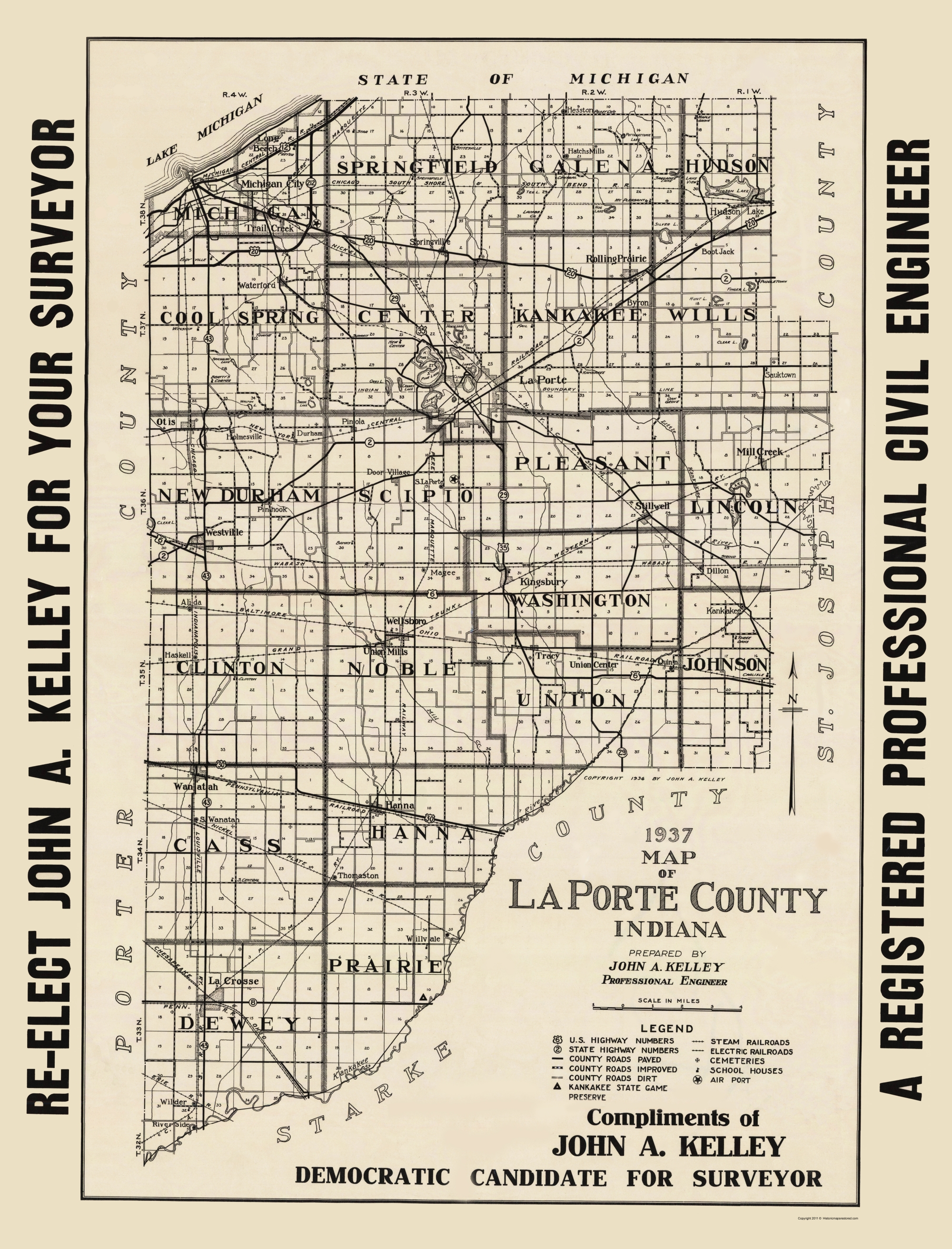 Old County Map La Porte Indiana Kelley 1937