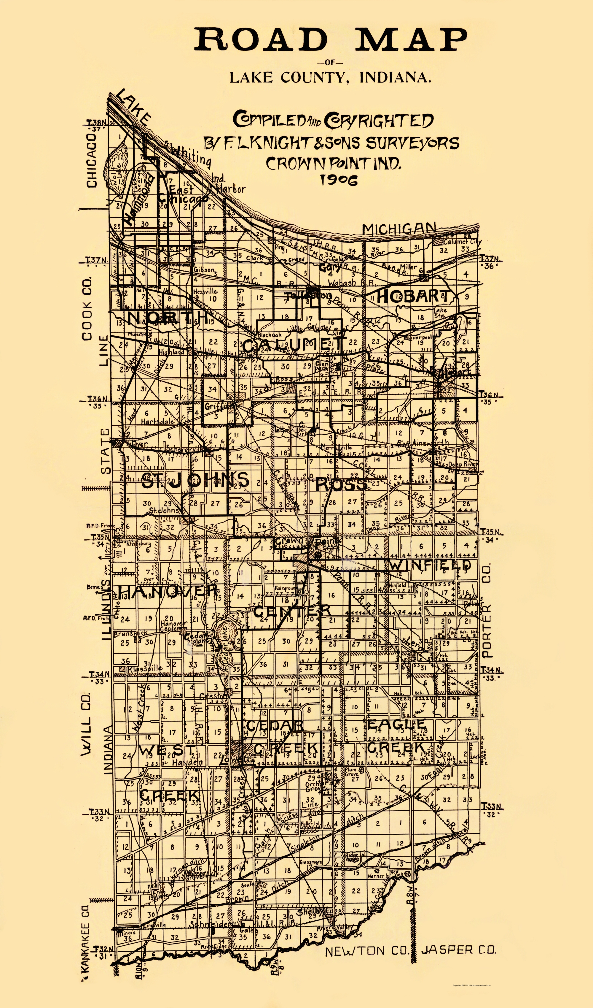 Old County Map Lake Indiana Knight 1906