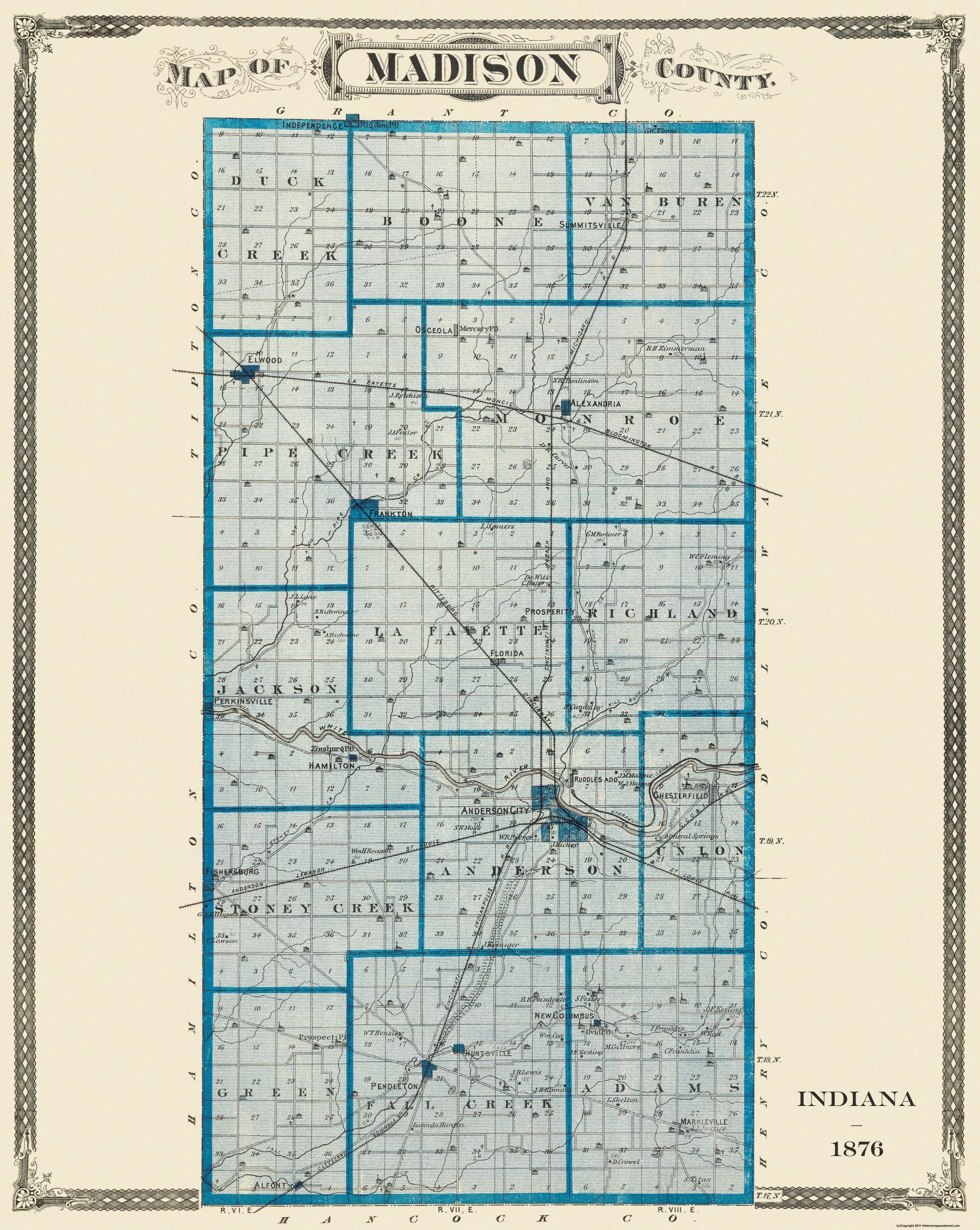 Old County Map Madison Indiana Landowner 1876