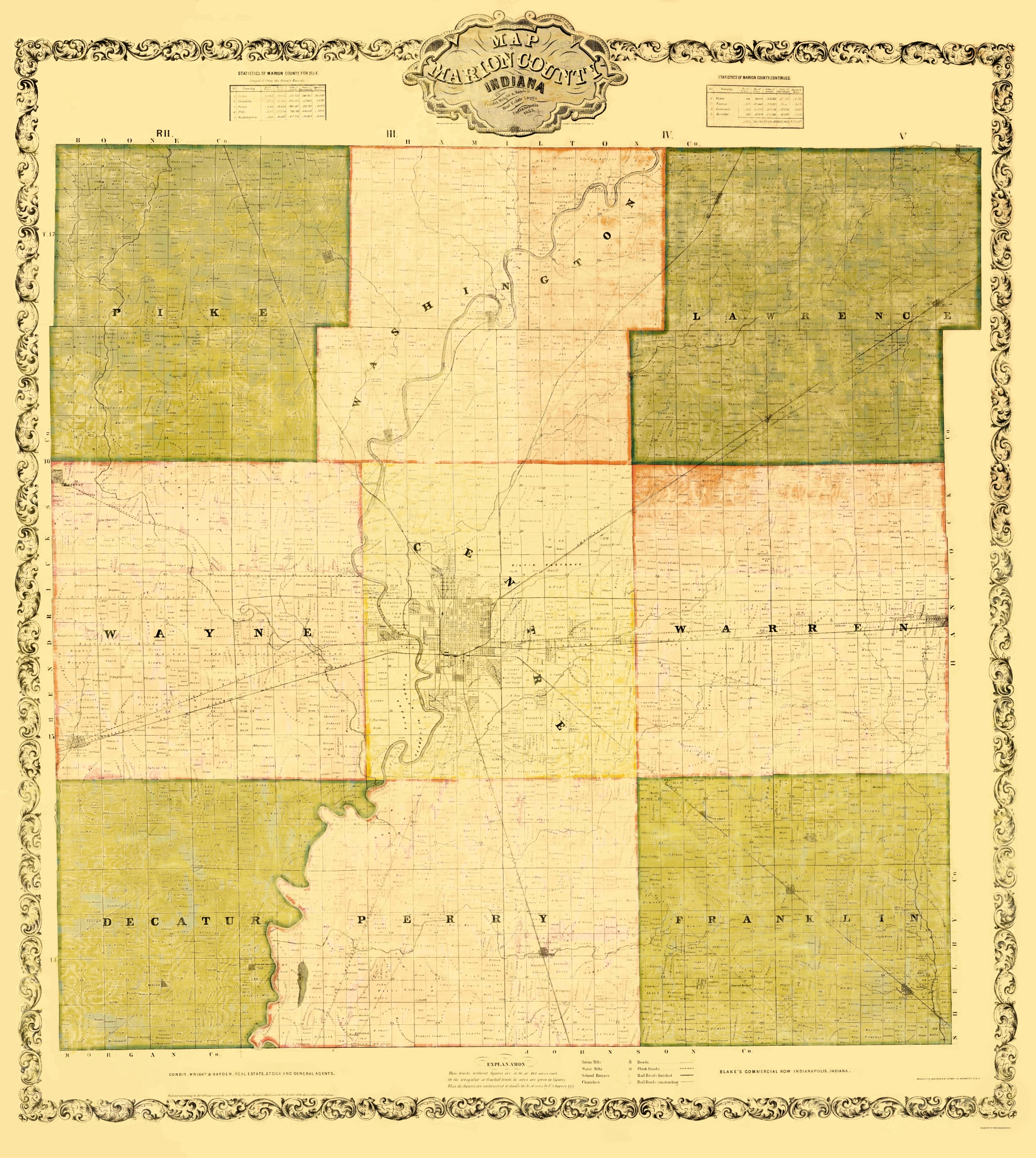 1855 Farm Line Map of Marion County Indiana Indianapolis