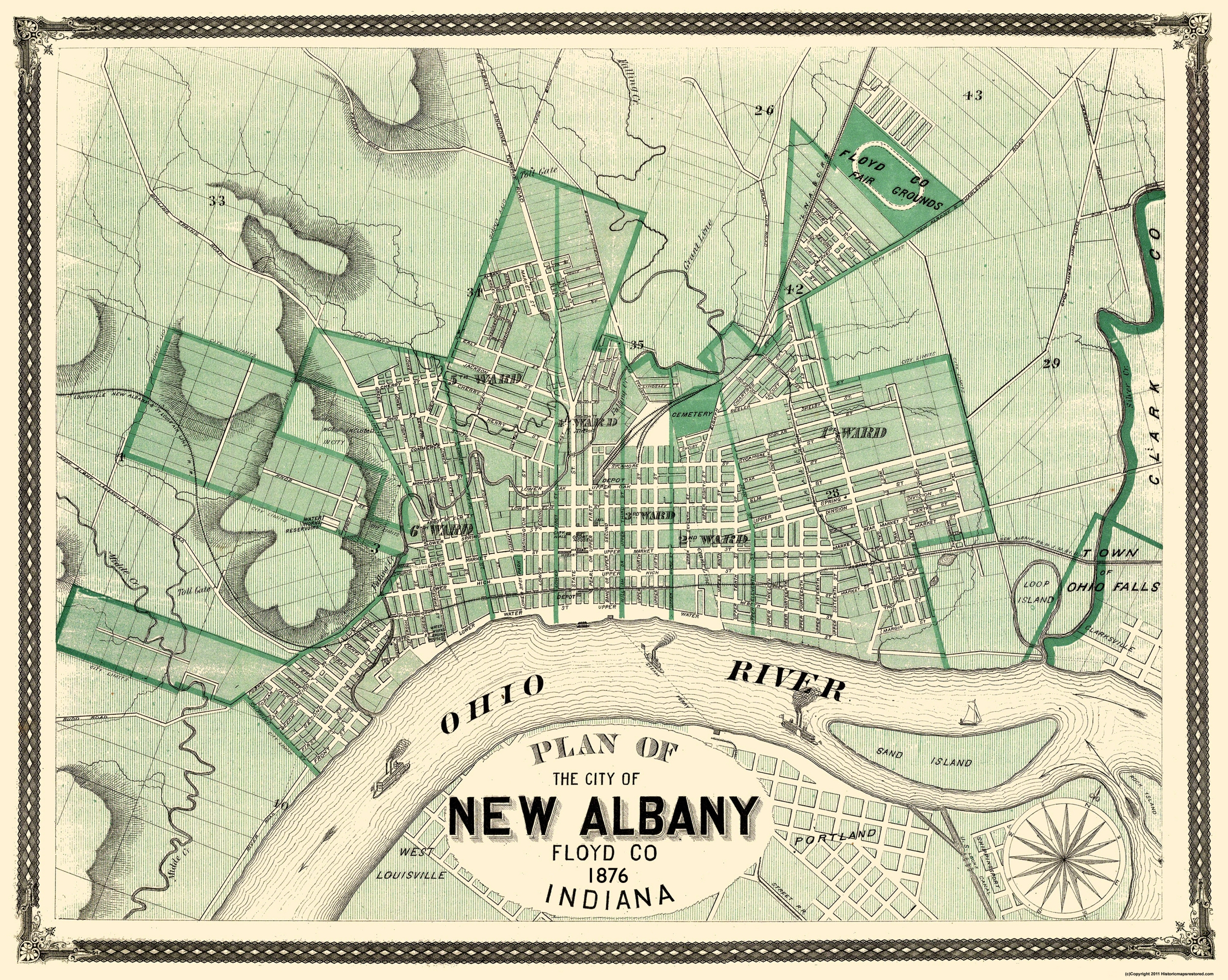 Albany Indiana Map.Old City Map New Albany Indiana 1876