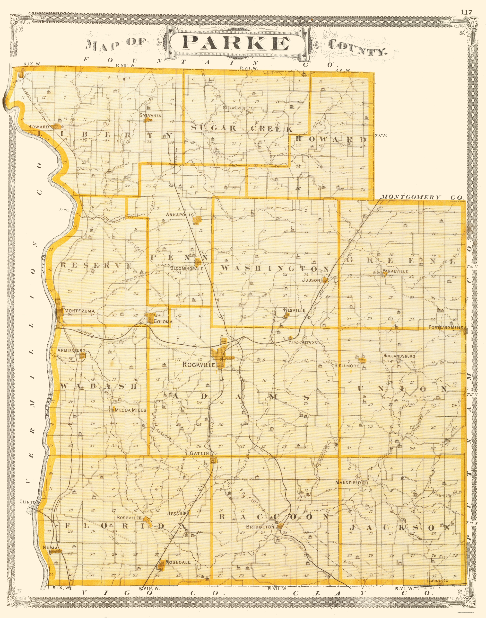 Old County Map Parke Indiana Baskin 1876