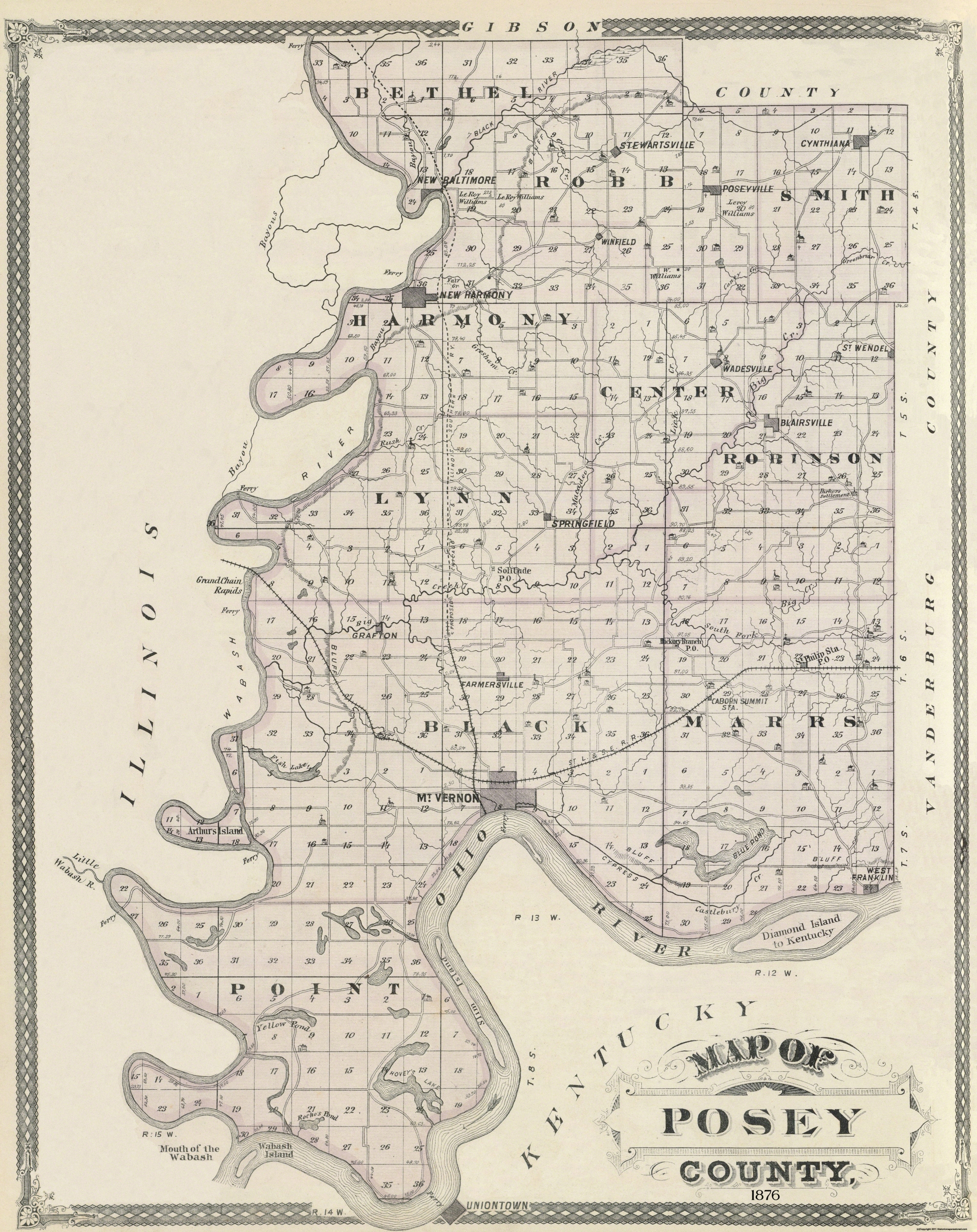 Old County Map Posey Indiana Landowner 1876