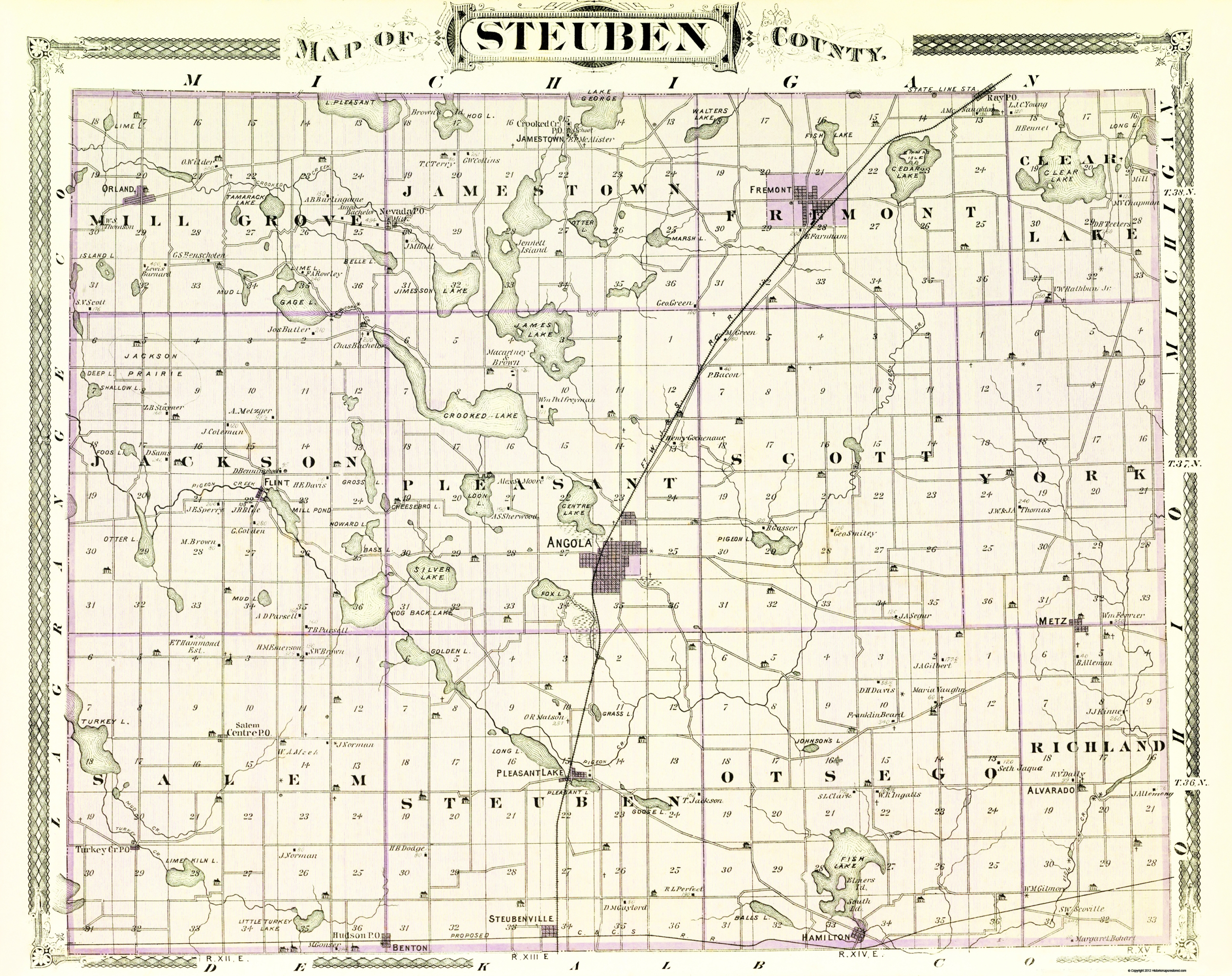 Steuben County Indiana Map.Old County Map Steuben Indiana Baskin 1876