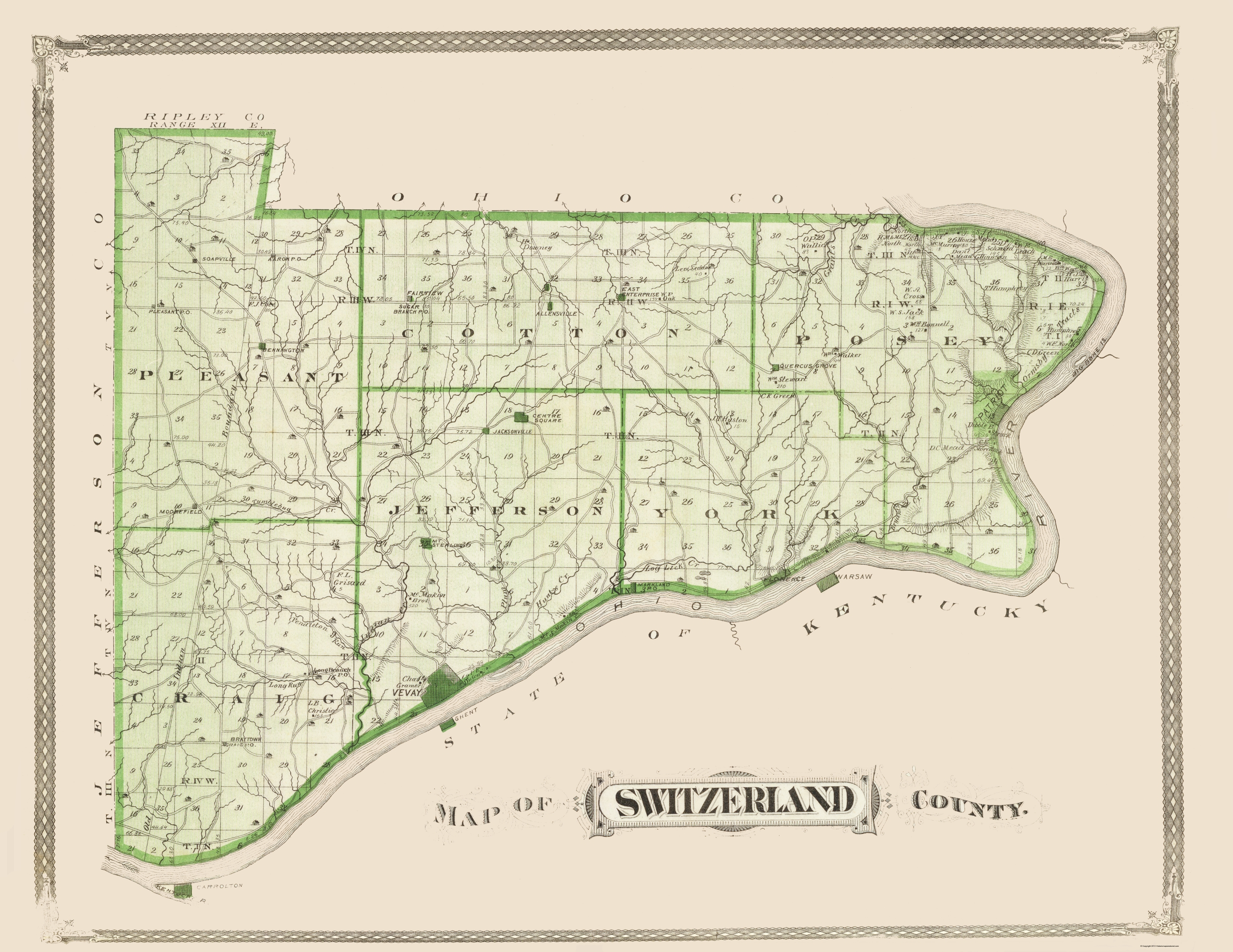 Old County Map Switzerland Indiana Chicago Litho - Chicago map river