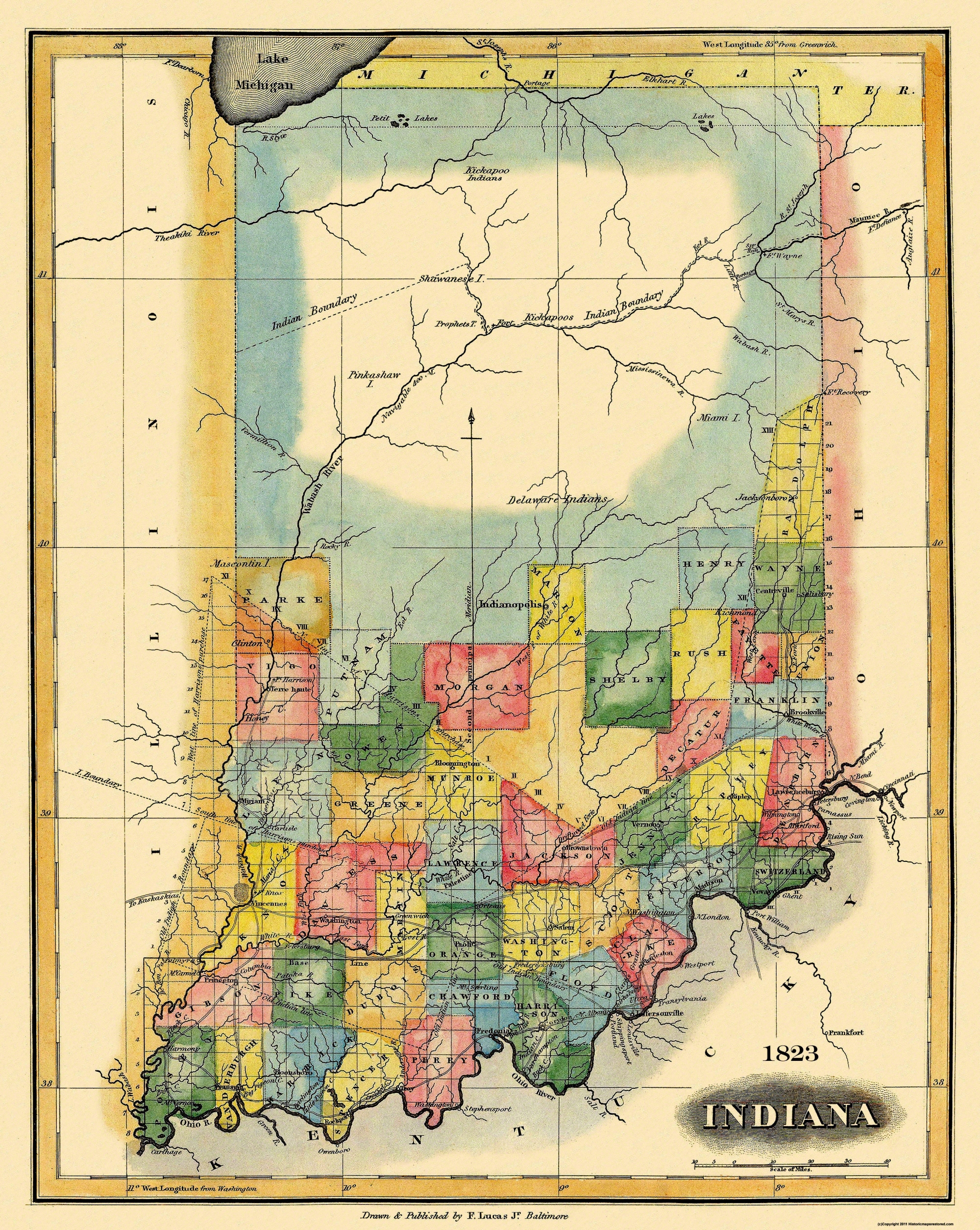 Old State Map Indiana Lucas - 1823 us map