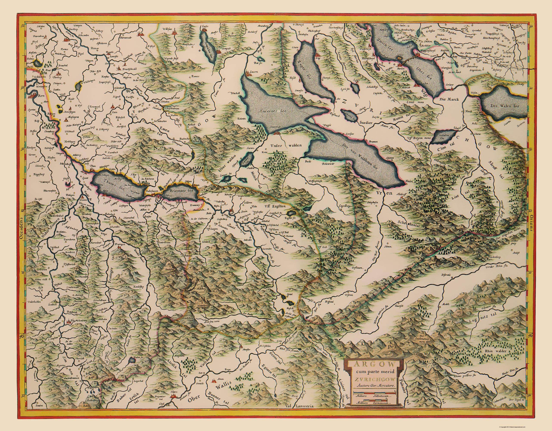 Old Switzerland Map Aargau Canton Blaeu 1630