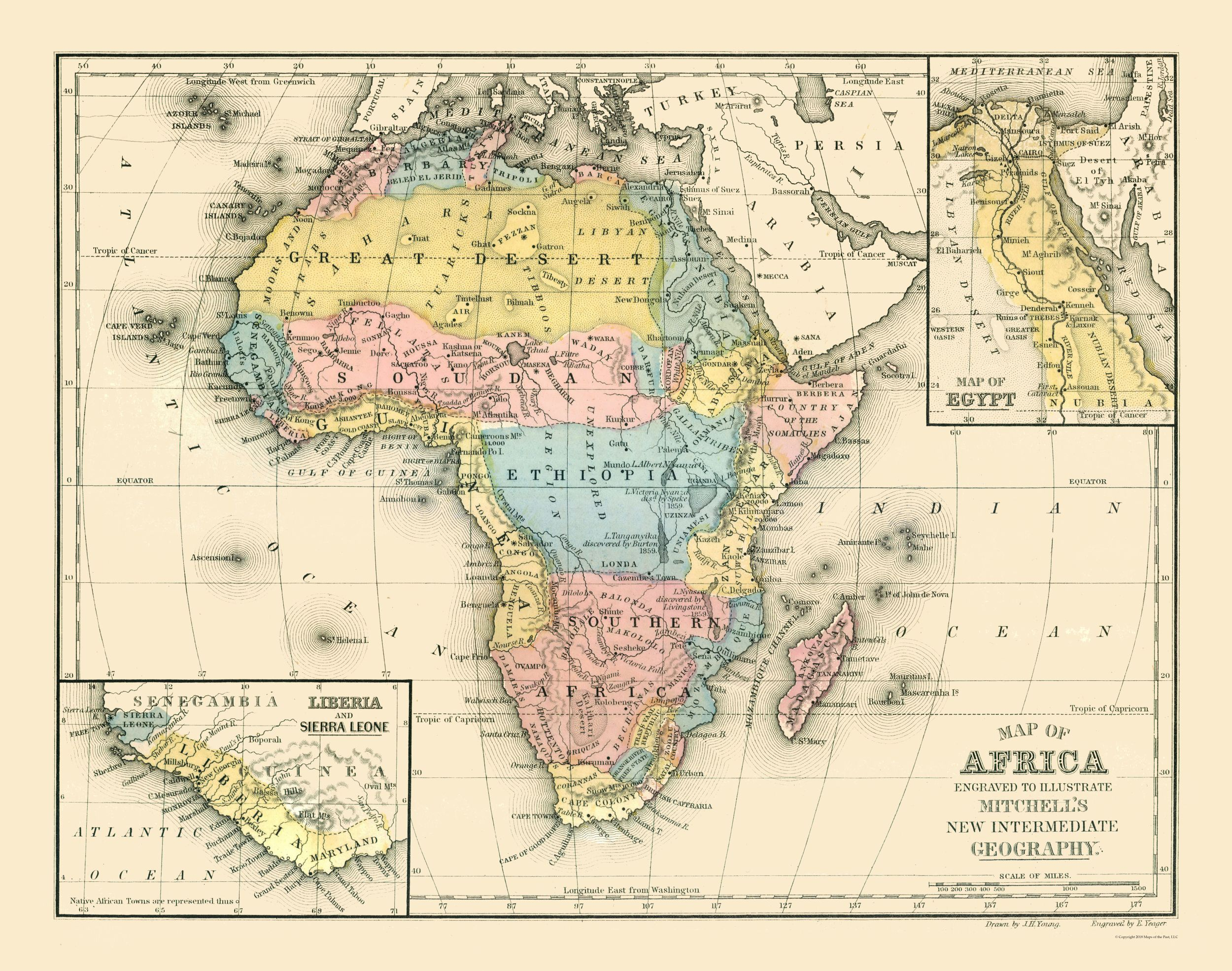 Old International Maps Africa Mitchell 1869 29 17 X 23