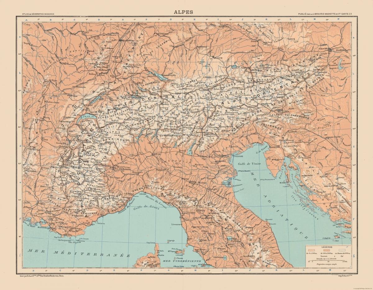 Old International Maps | Alps - Schrader 1908 - 29.59 x 23