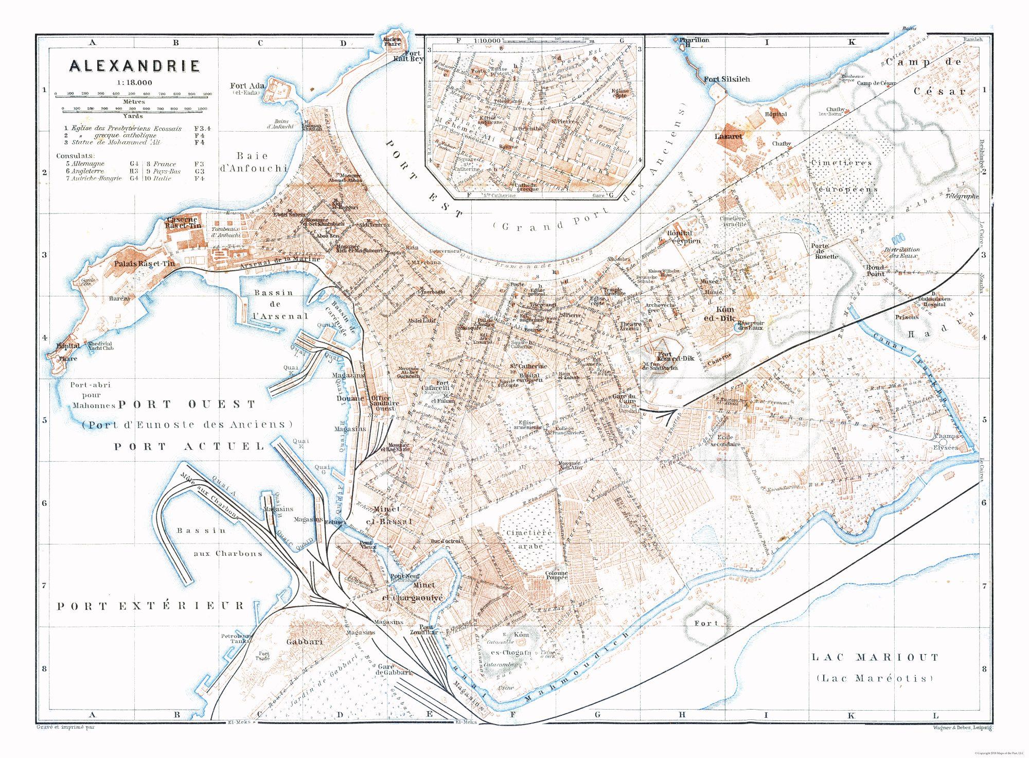 Old International Maps Alexandria Egypt Baedeker 1913 31 22 X 23