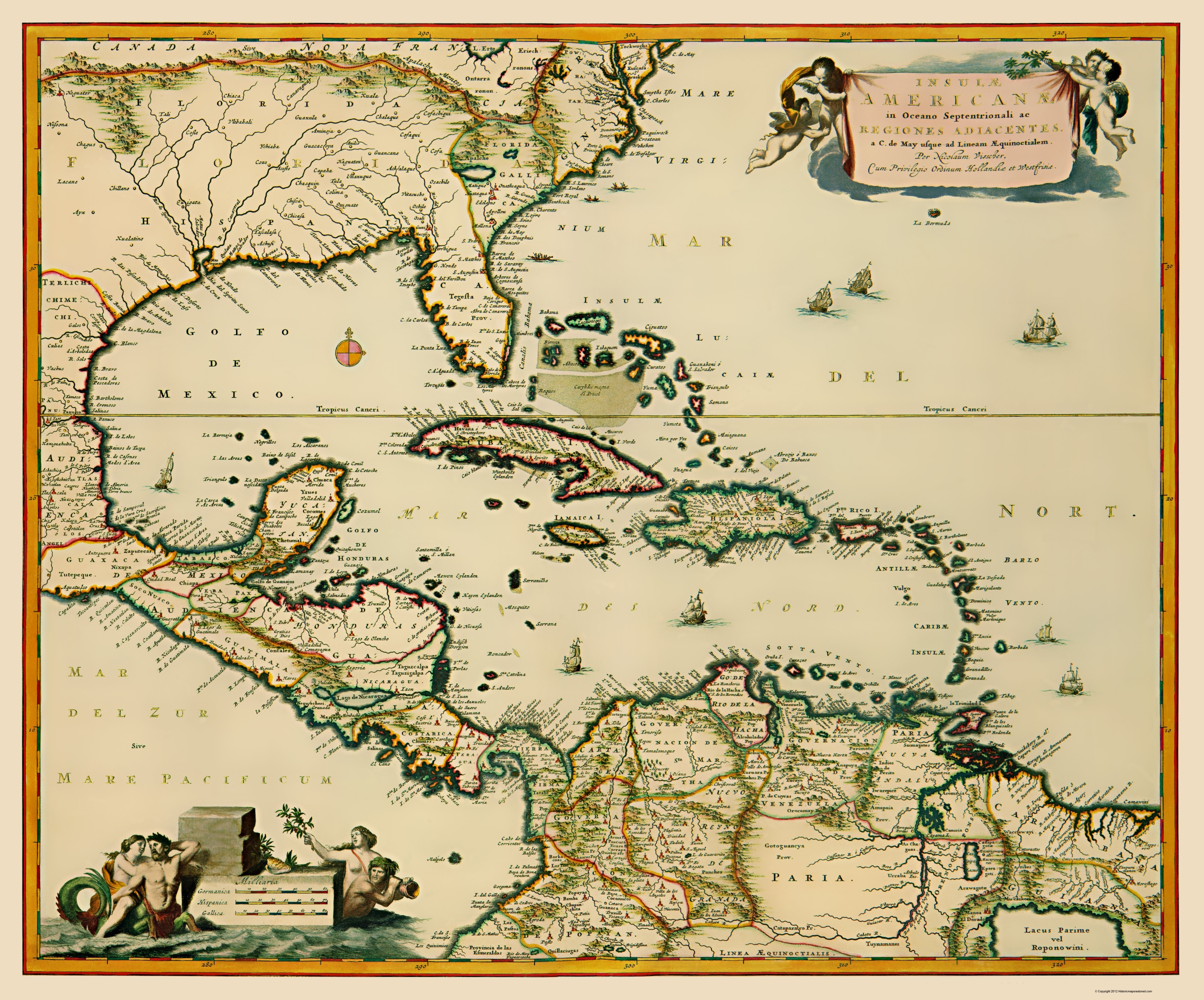 Old Western Hemisphere Map - Central America and Caribbean 1681 - 23 x 27