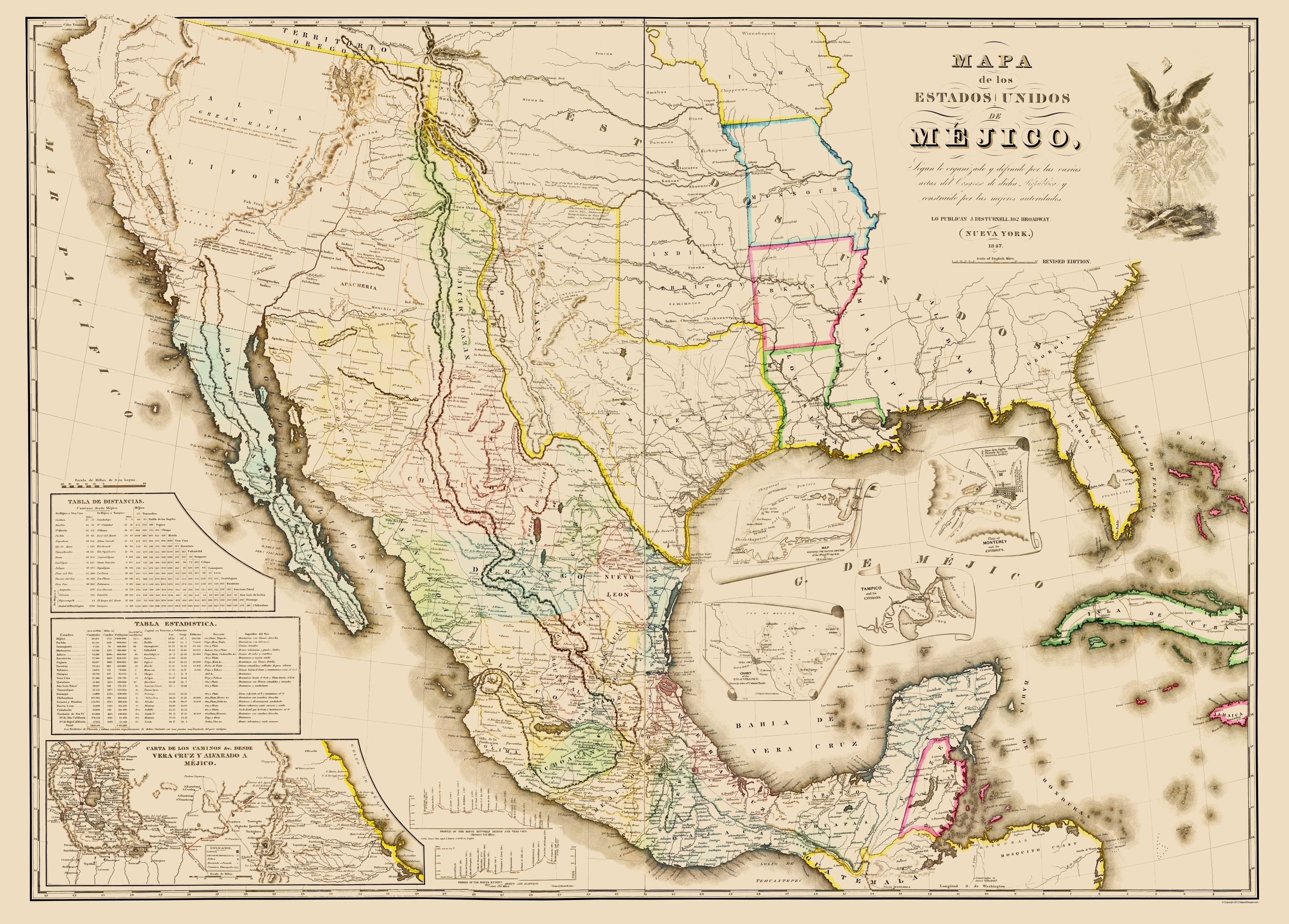 Old Map   Mexico & United States Territories 1847