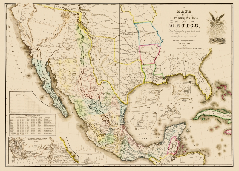 Old North America Map - Mexico and United States Territories 1847 - 23 x 32