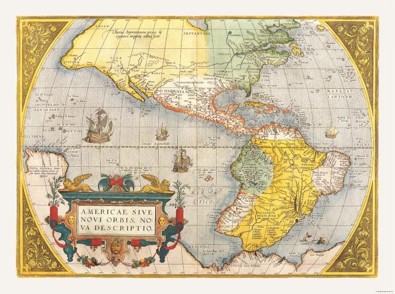 International Map - North America - South America - Ortelius 1570 - 30.89 x  23