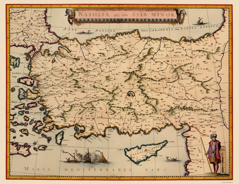 Map Of Asia Minor.Old Asia Map Anatolian Peninsula Asia Minor Mariette 1635 23 X 29 81