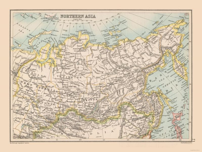 International Map - Siberia, Northern Asia - Bartholomew 1892 - 30.64 x 23