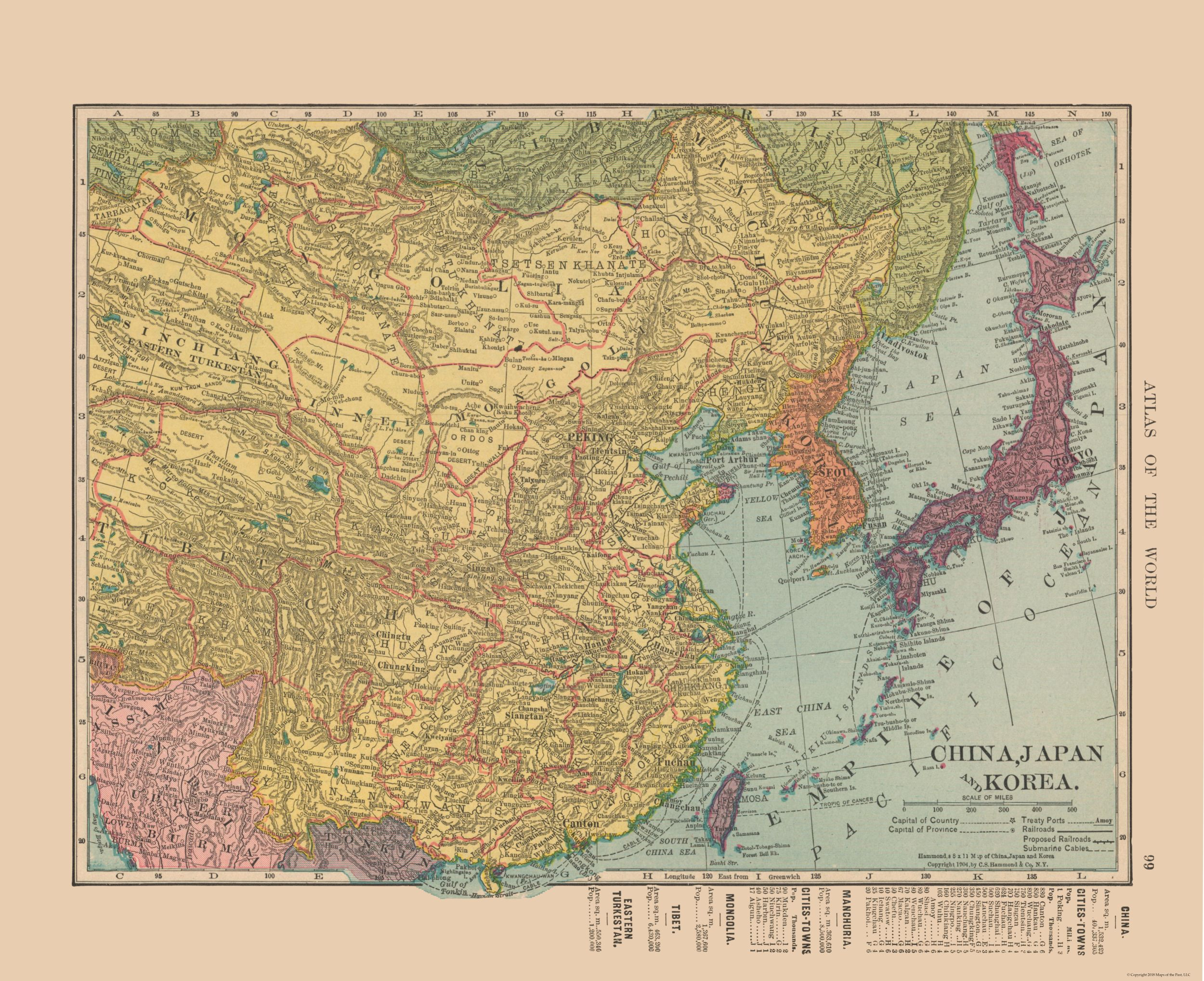 International Map - China, Japan, Korea - Hammond's Atlas 1910 - 28.23 on coloring map of japan, climate zone map of japan, natural gas map of japan,